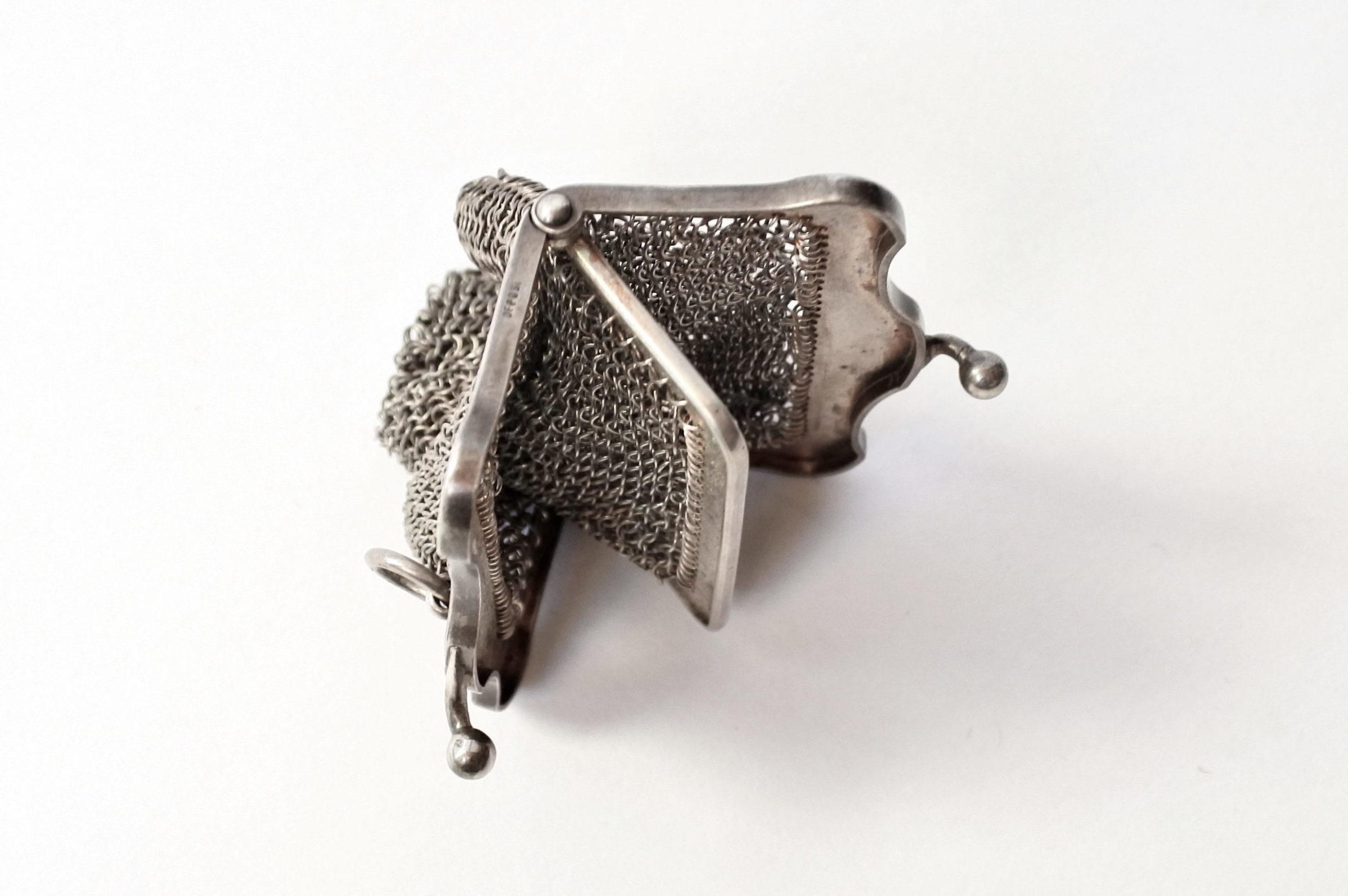 Borsellino in maglia d'argento con separatore vano interno - 4