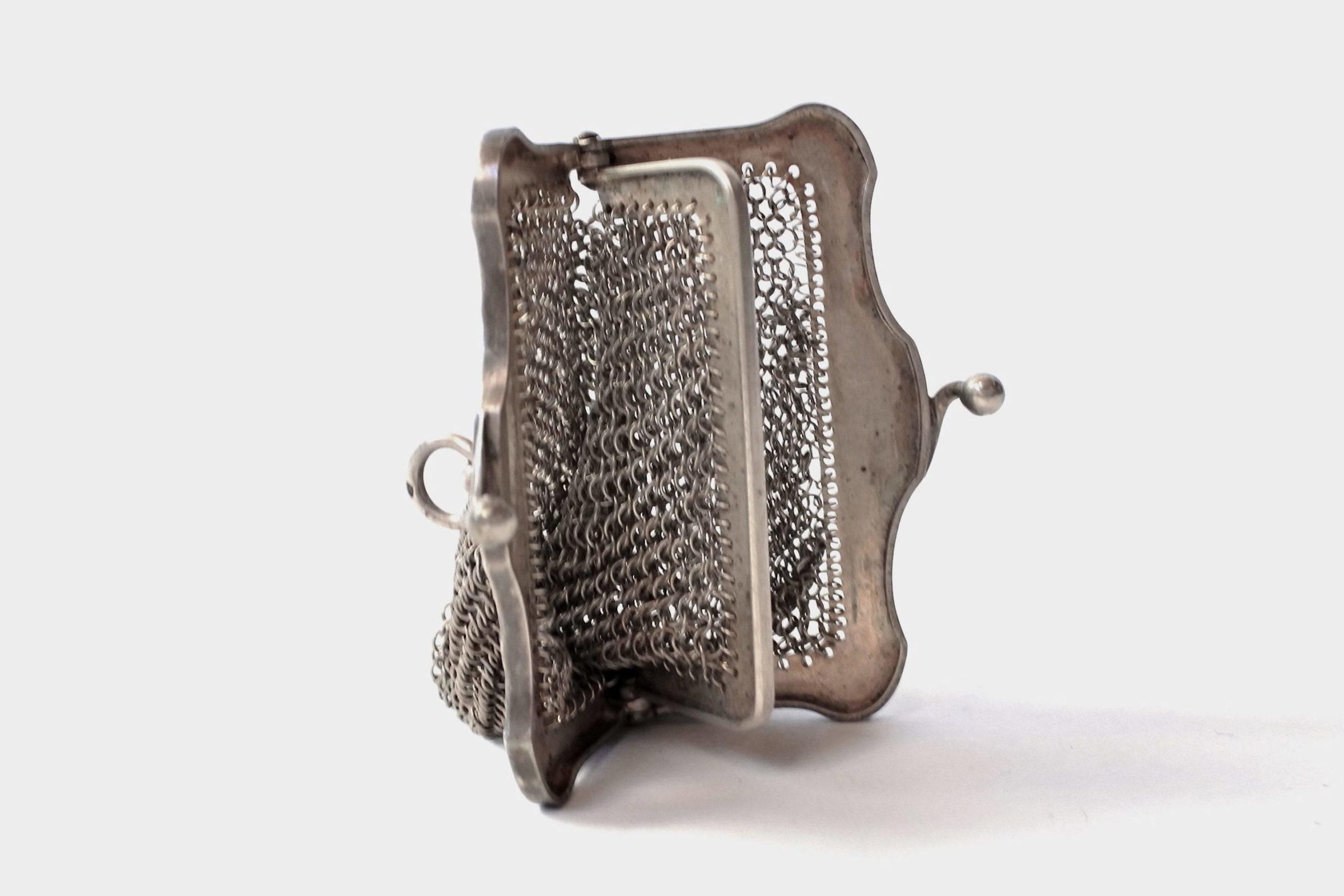 Borsellino in maglia d'argento con separatore vano interno - 5