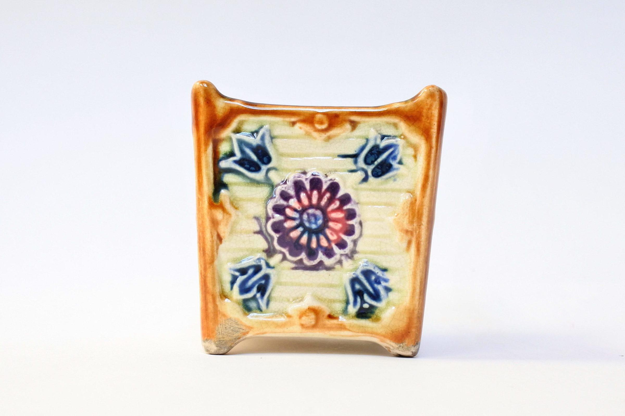 Coppia di piccoli cache pot in ceramica barbotine - 3