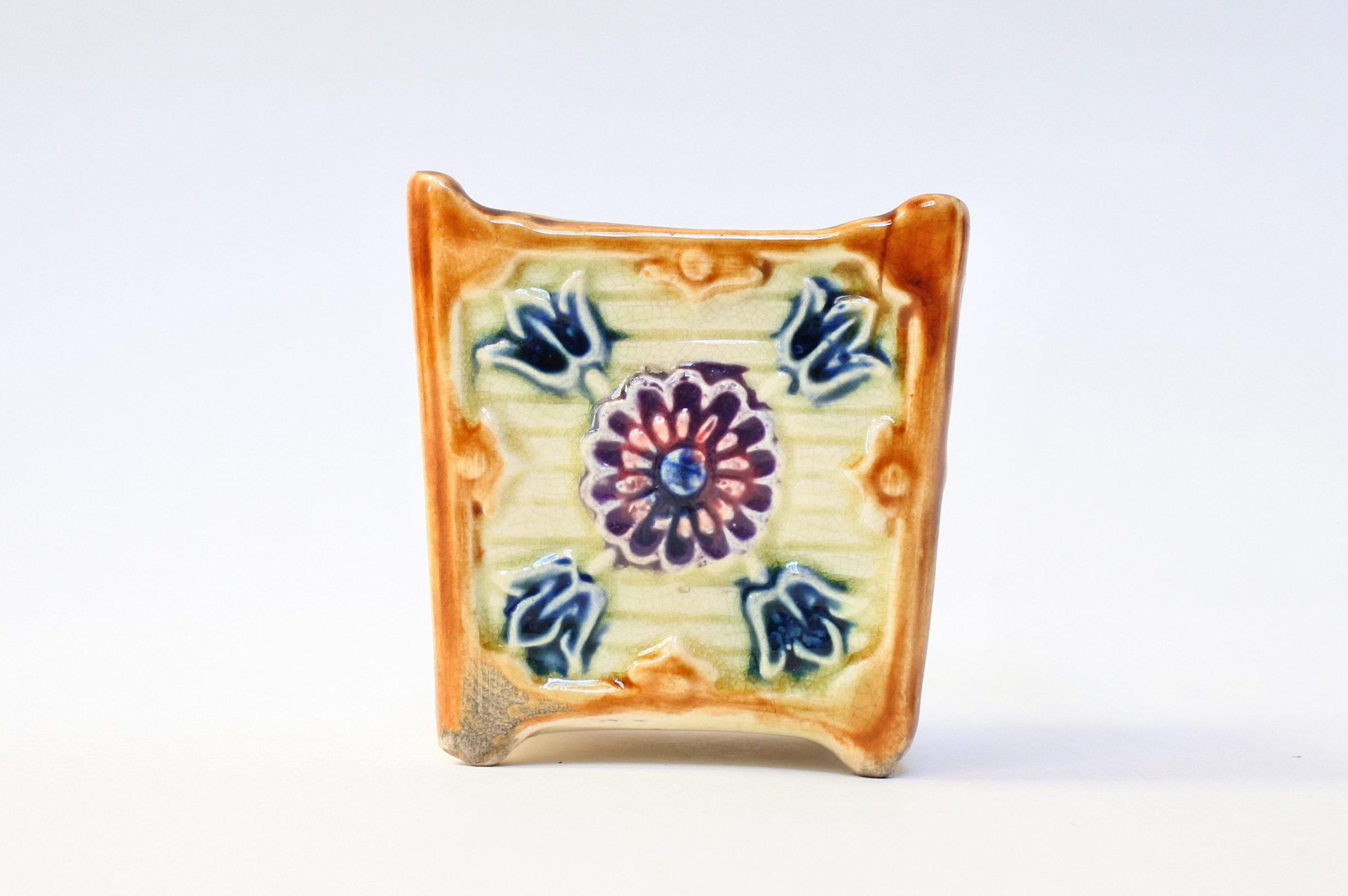 Coppia di piccoli cache pot in ceramica barbotine - 4