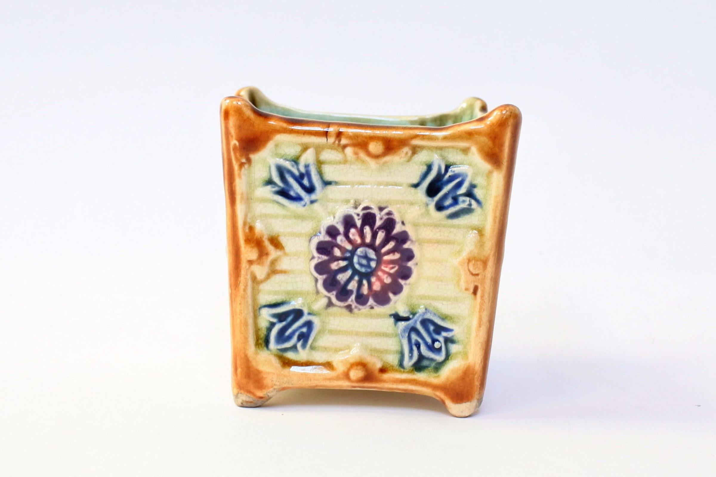 Coppia di piccoli cache pot in ceramica barbotine - 5
