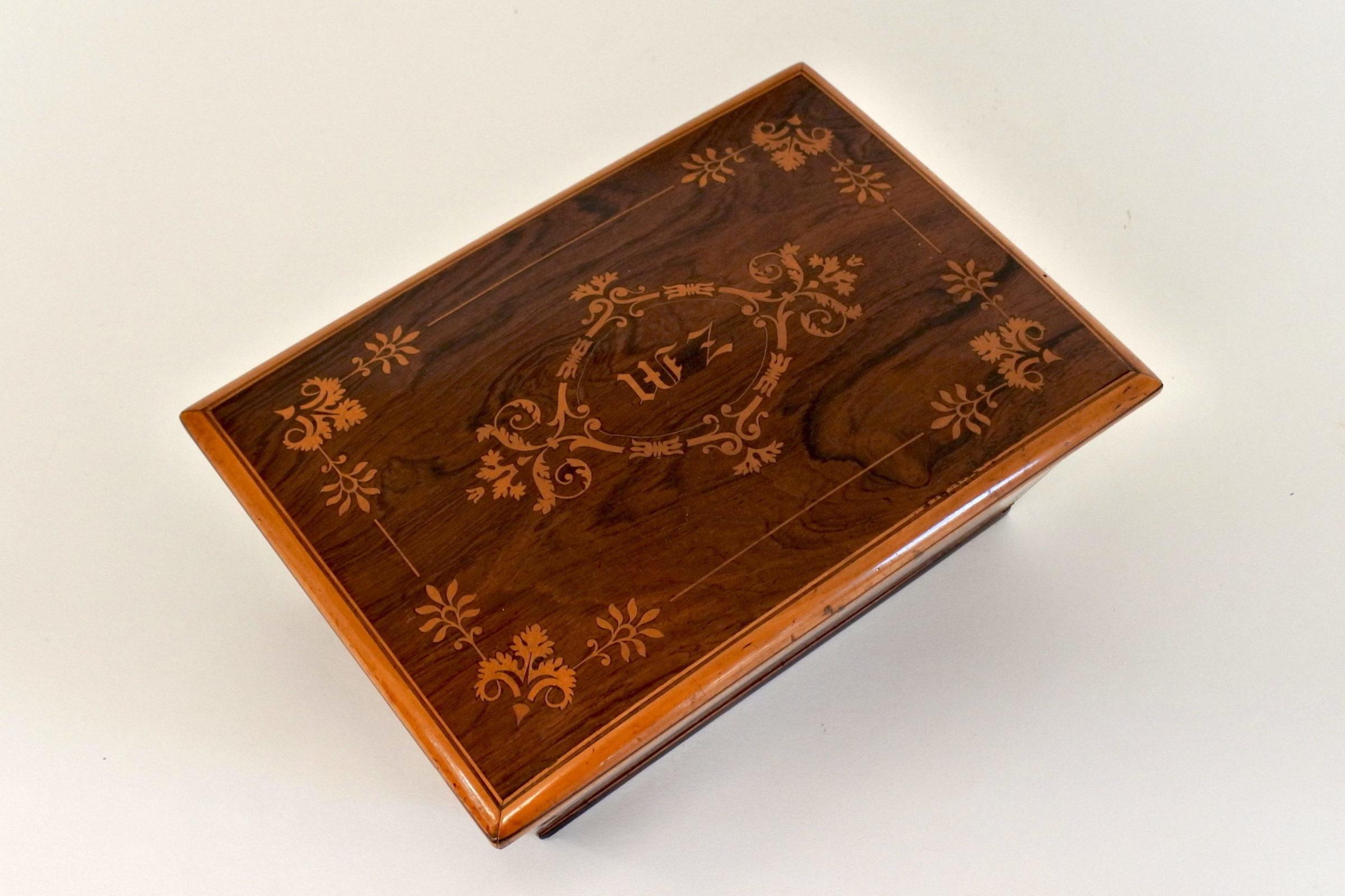 Scatola intarsiata in radica di legno - 3
