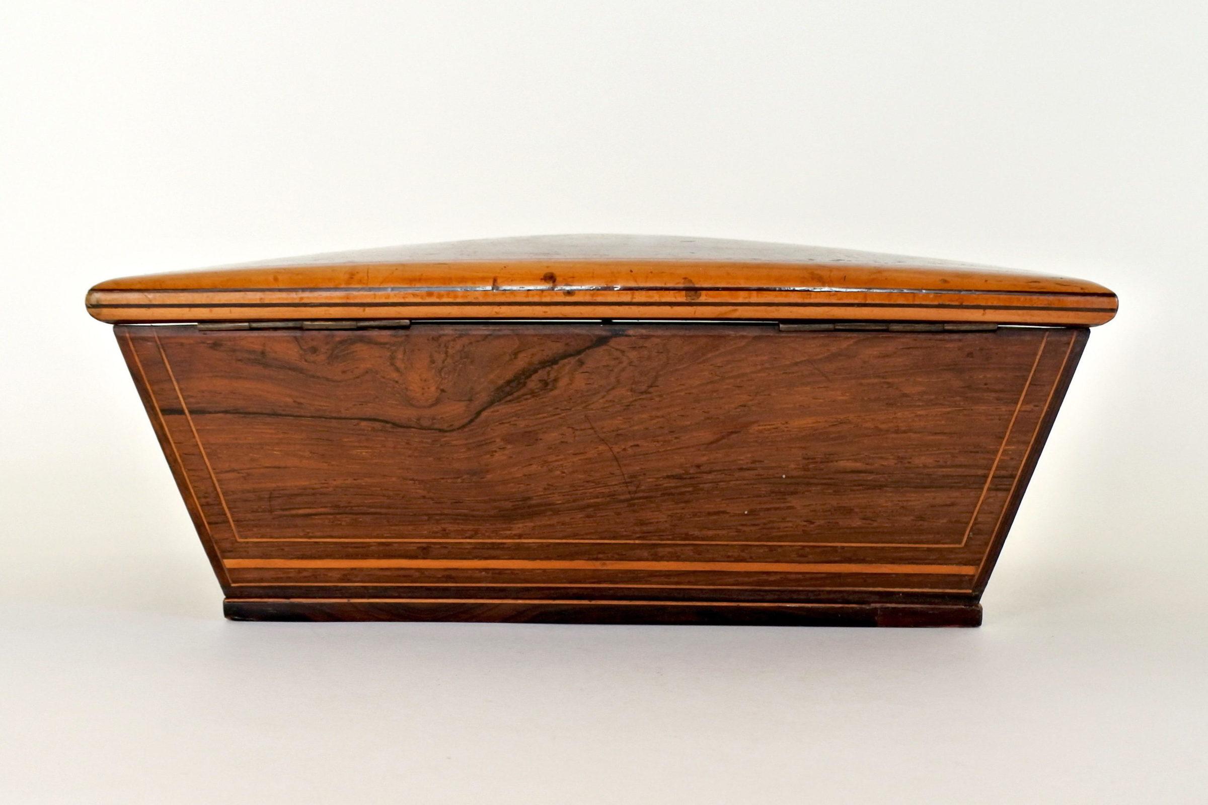 Scatola intarsiata in radica di legno - 4