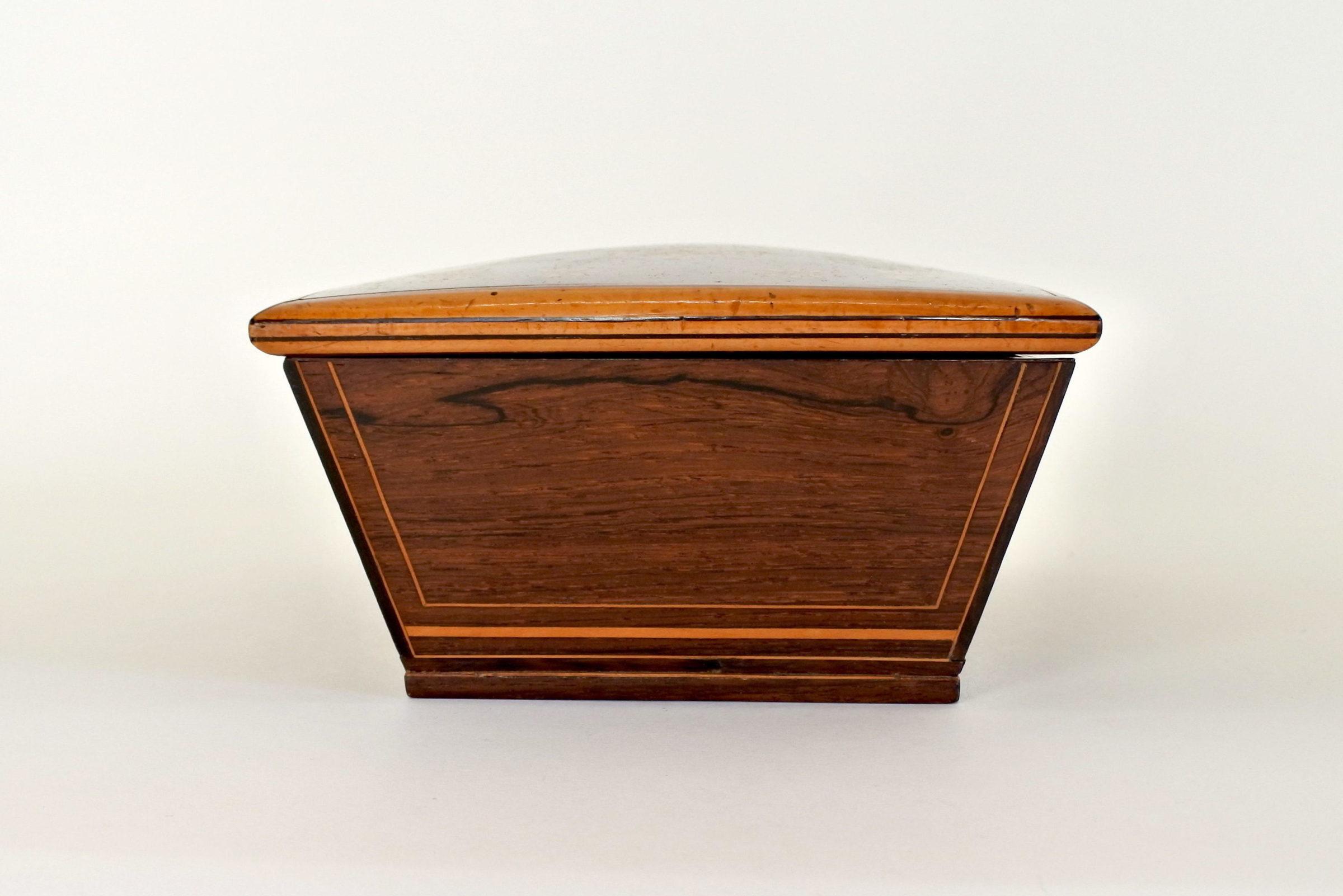 Scatola intarsiata in radica di legno - 5