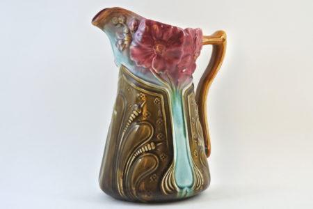 Brocca in ceramica barbotine con fiori - Onnaing n° 756