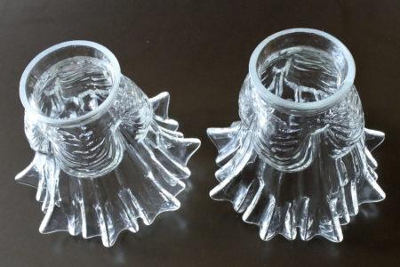 Coppia di tulipes per appliques in vetro