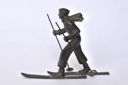 Sciatore in bronzo degli inizi del XX° secolo