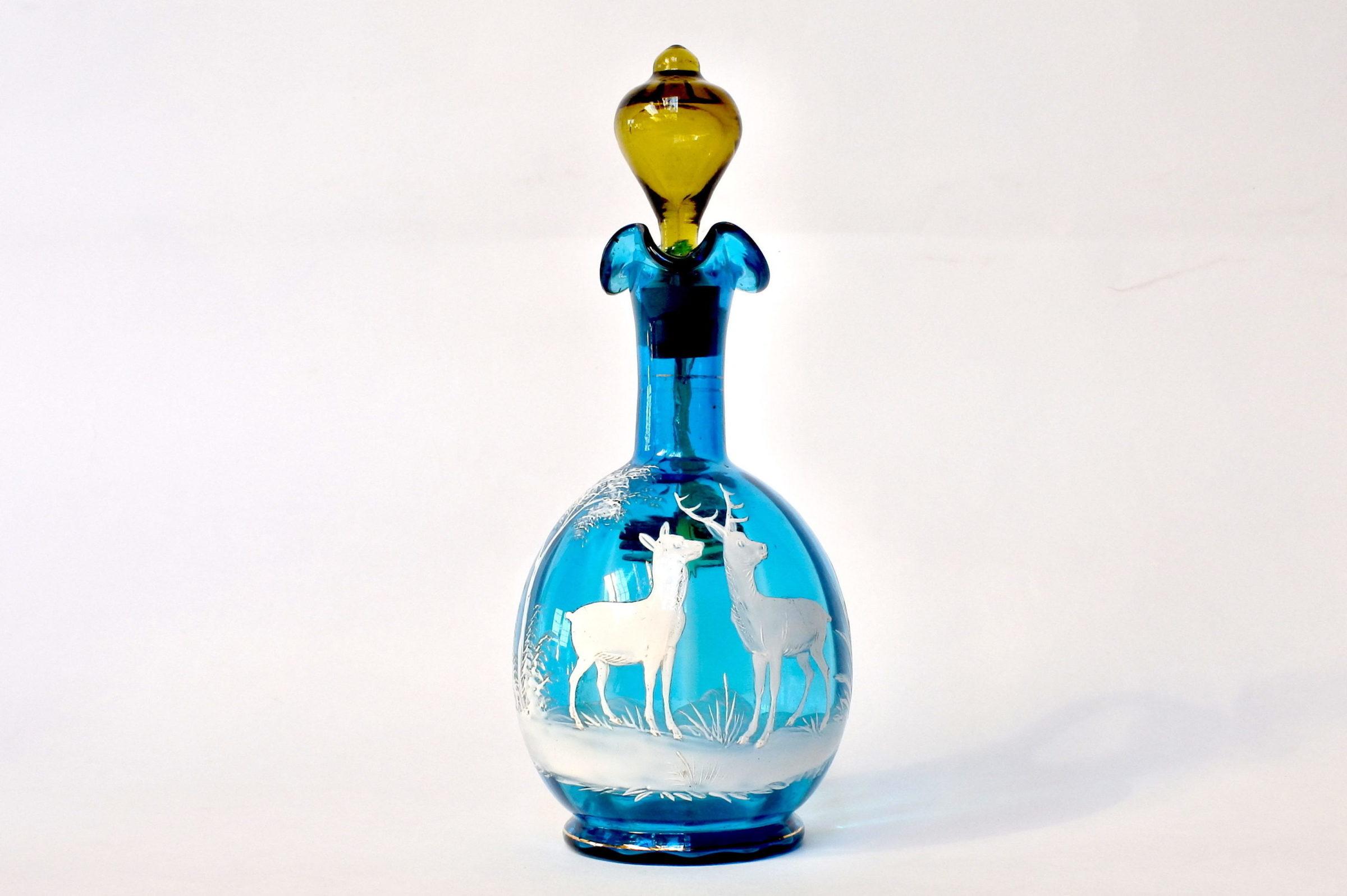 Servizio da liquore in vetro soffiato e smalti decorato con cervi - 2