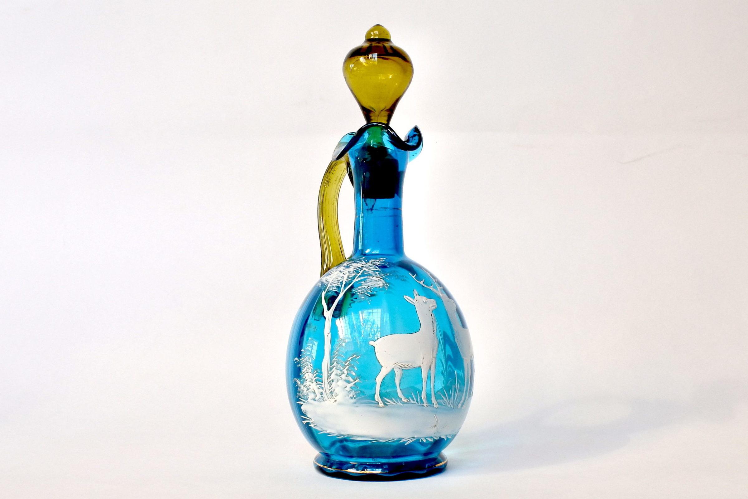 Servizio da liquore in vetro soffiato e smalti decorato con cervi - 3
