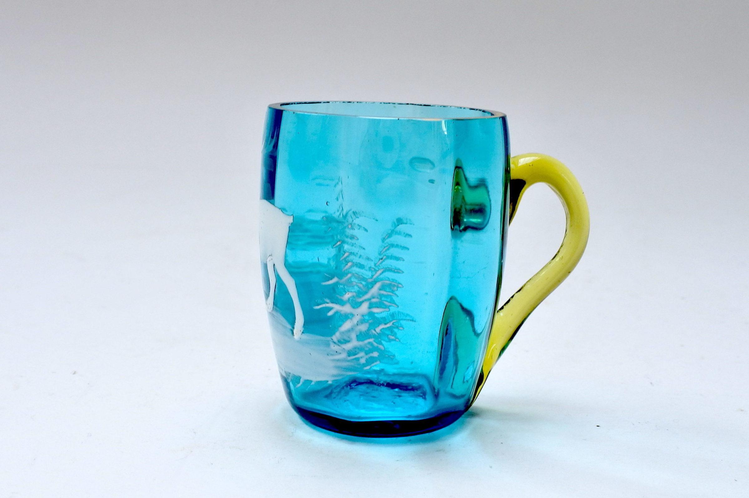 Servizio da liquore in vetro soffiato e smalti decorato con cervi - 6
