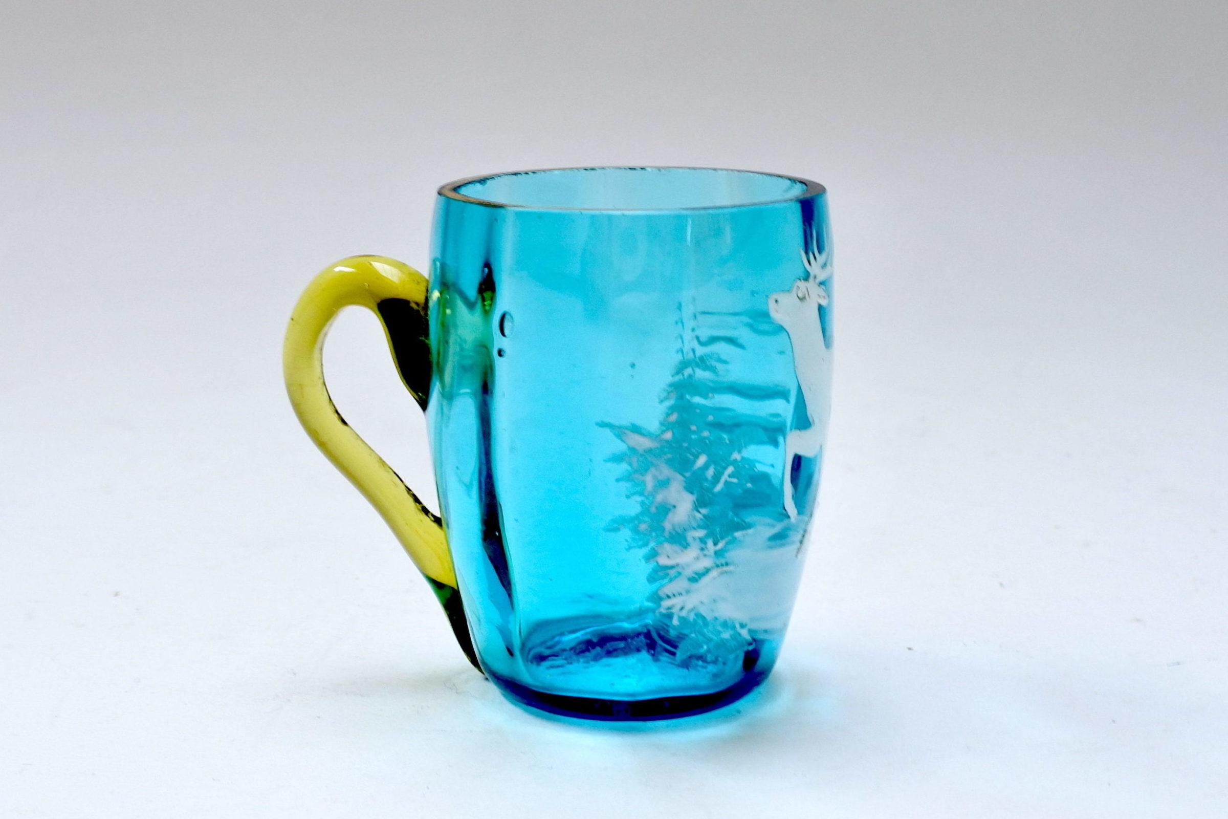 Servizio da liquore in vetro soffiato e smalti decorato con cervi - 7