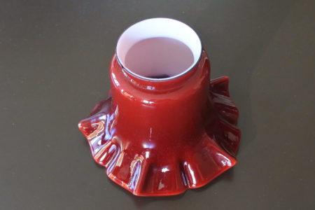 Tulipe per applique in vetro opalino incamiciato rosso e bianco