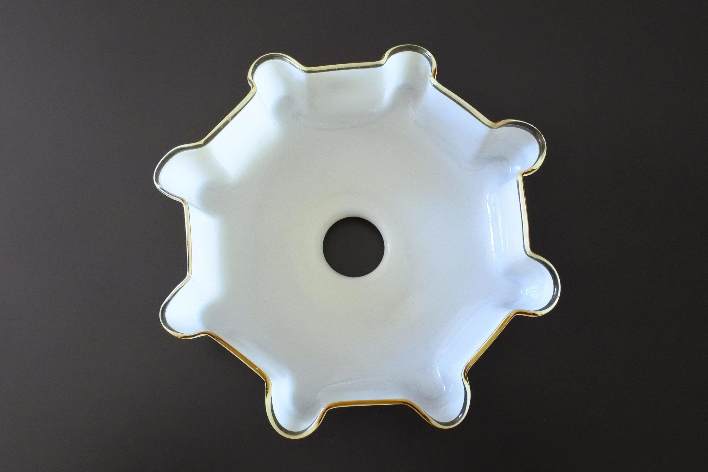 Vetro opalino incamiciato beige e bianco per lampada a sospensione - 2