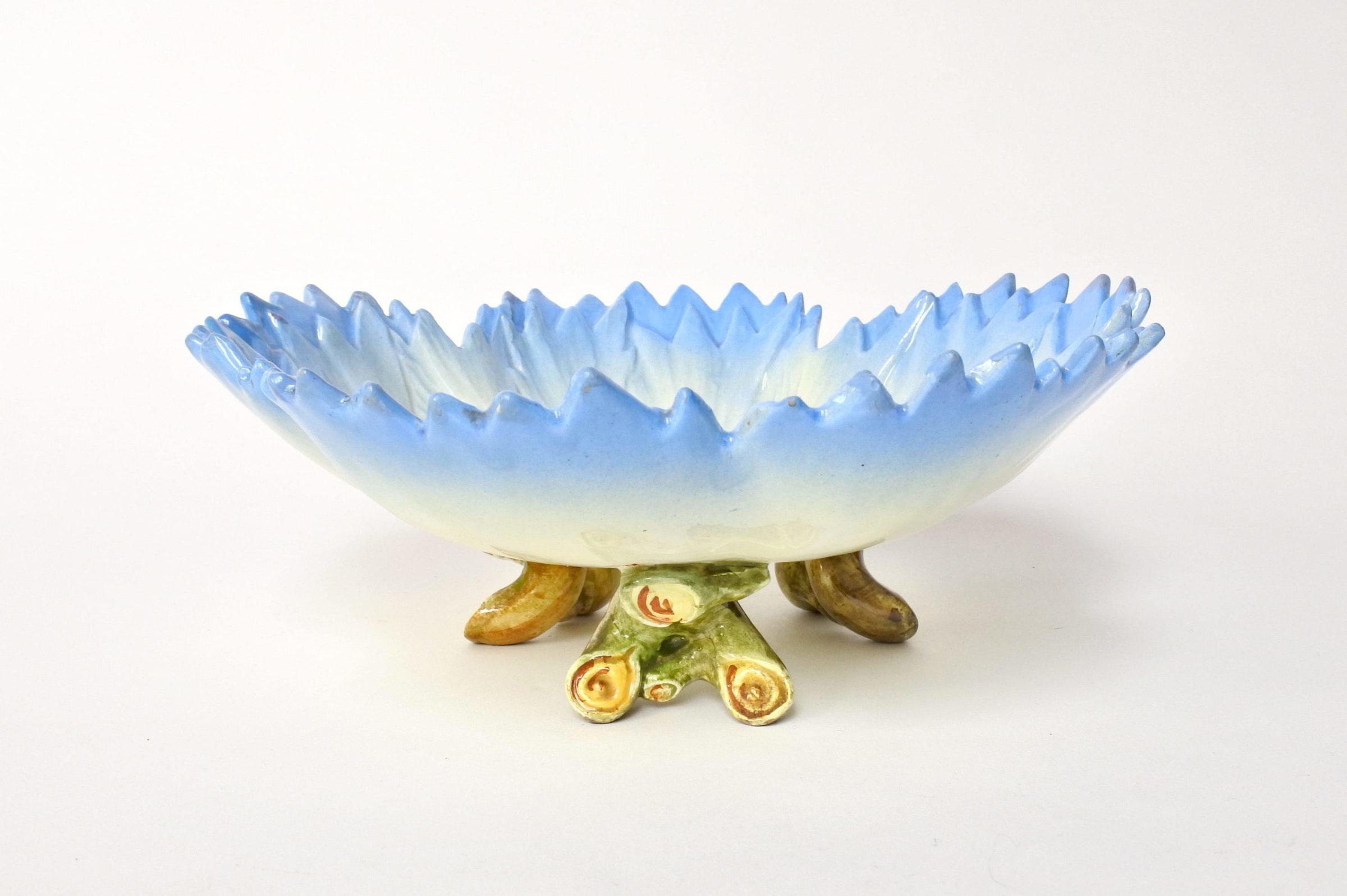 Alzatina Massier in ceramica barbotine a forma di fiordaliso - 2