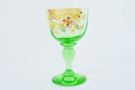 Bicchierino Legras in vetro soffiato verde e smalti - Altezza 7,8 cm