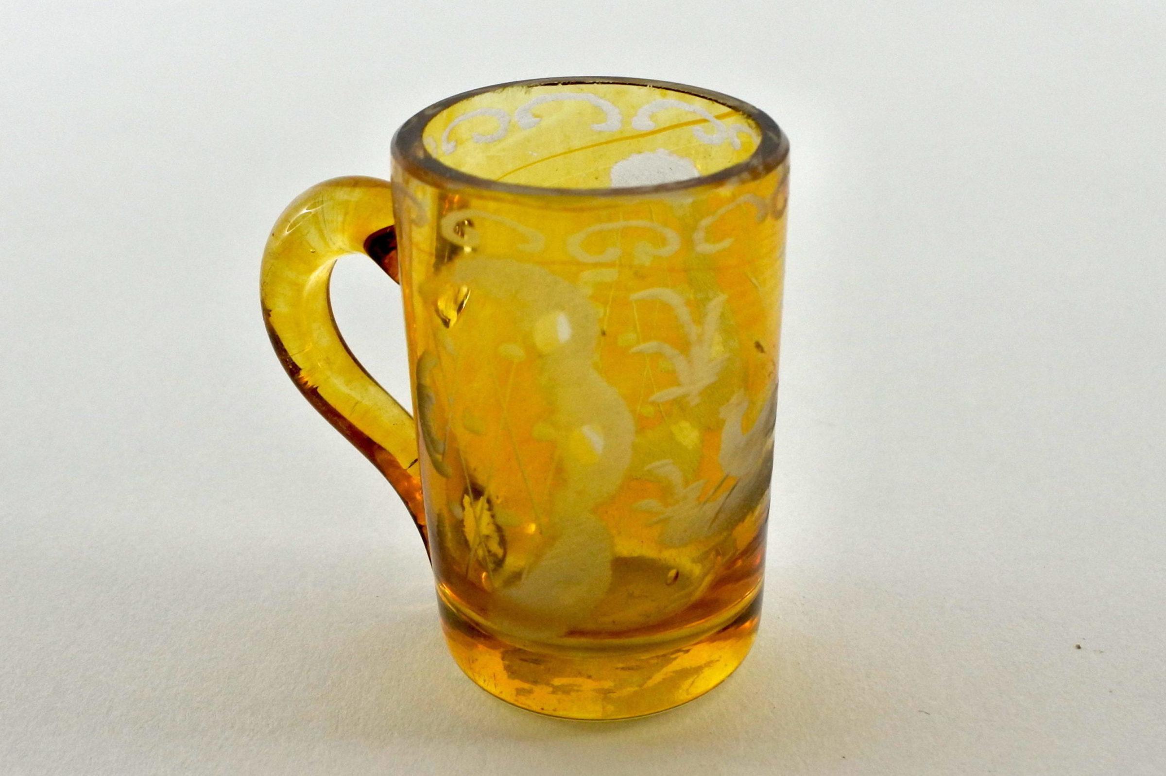 Bicchierino in vetro giallo soffiato e molato - 3
