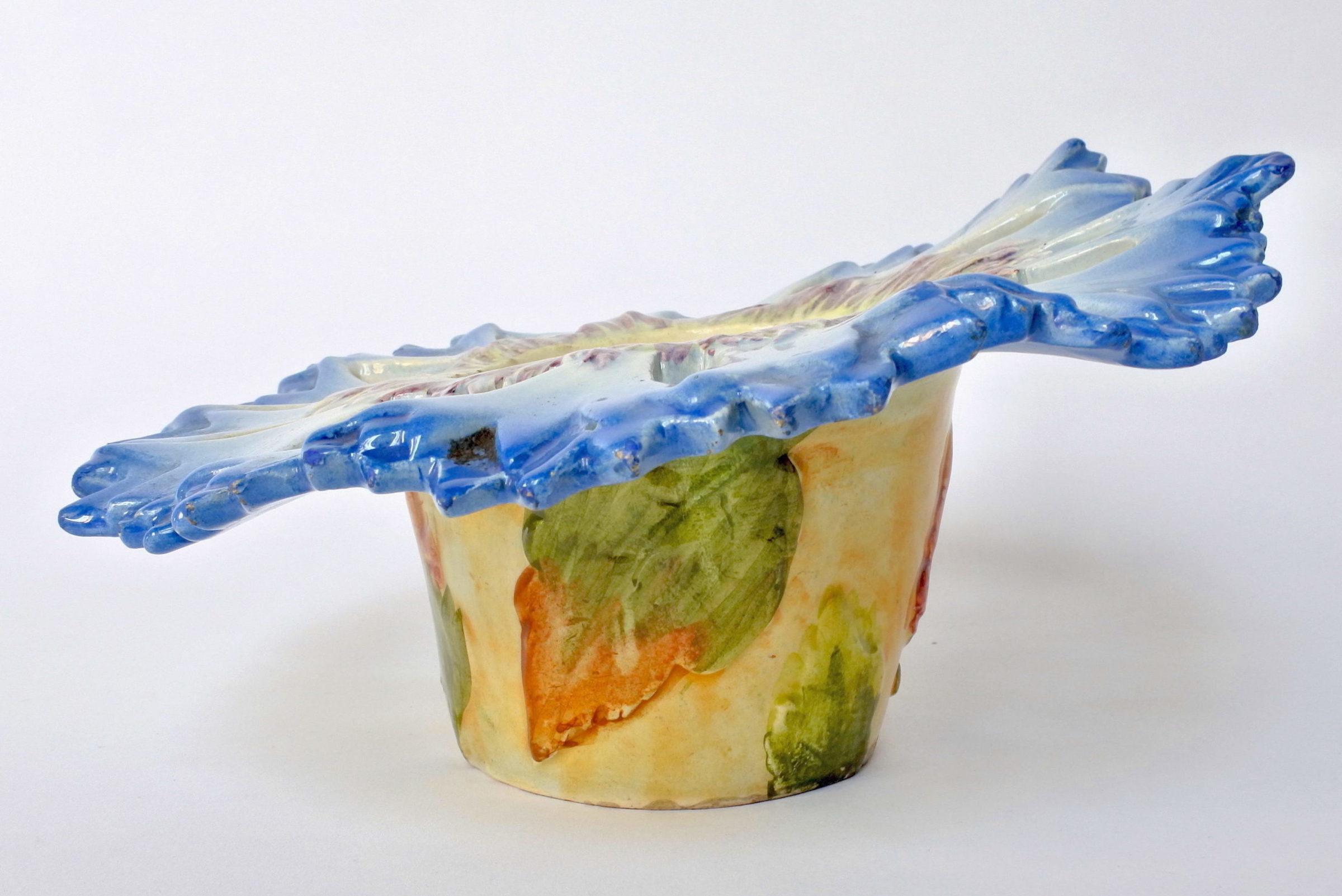 Cache pot Massier in ceramica barbotine a forma di fiordaliso - 2