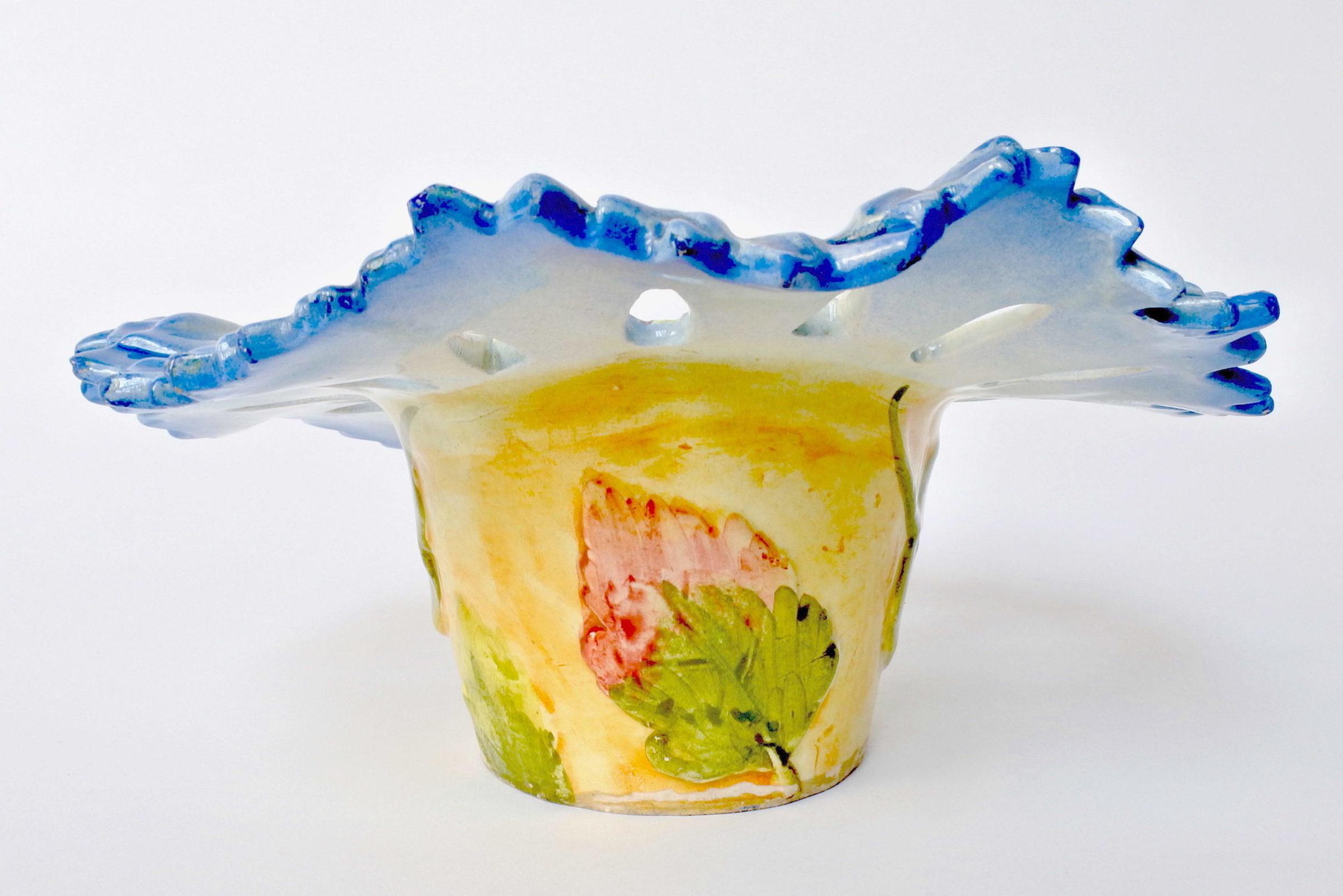Cache pot Massier in ceramica barbotine a forma di fiordaliso - 3