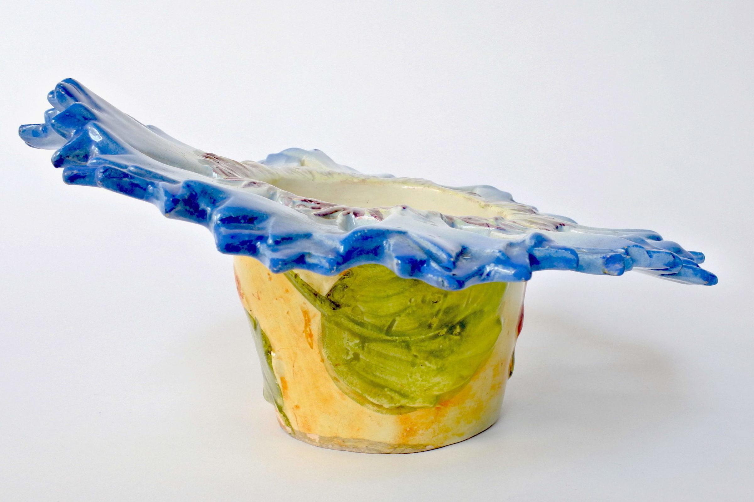 Cache pot Massier in ceramica barbotine a forma di fiordaliso - 4