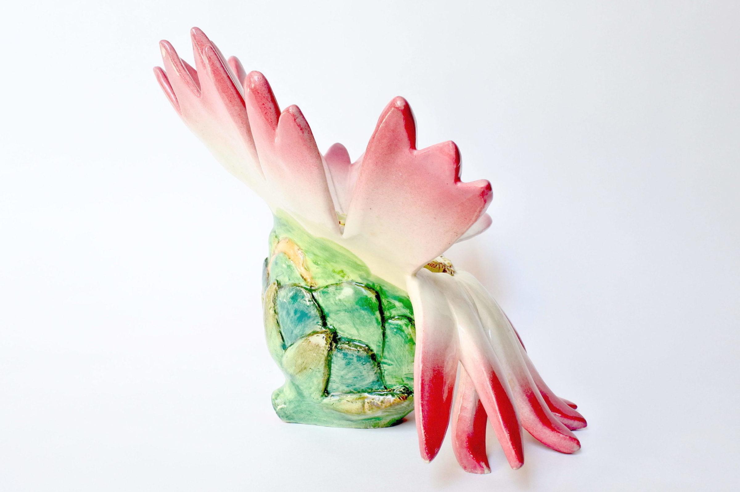 Centro tavola Massier in ceramica barbotine a forma di margherita con farfalla - 5