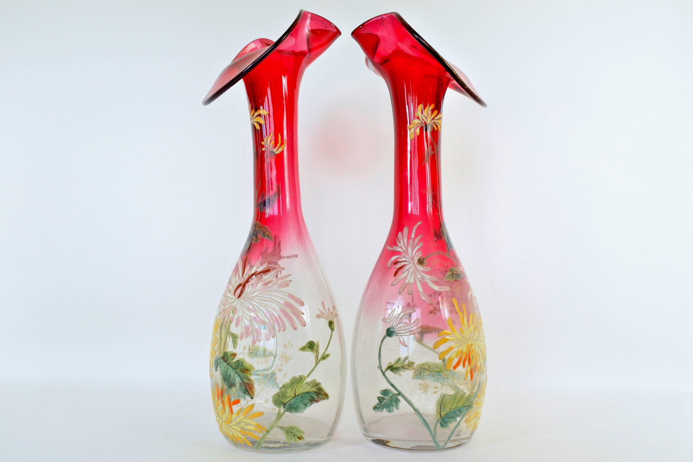 Coppia di vasi Legras in vetro soffiato a forma di calla - 2