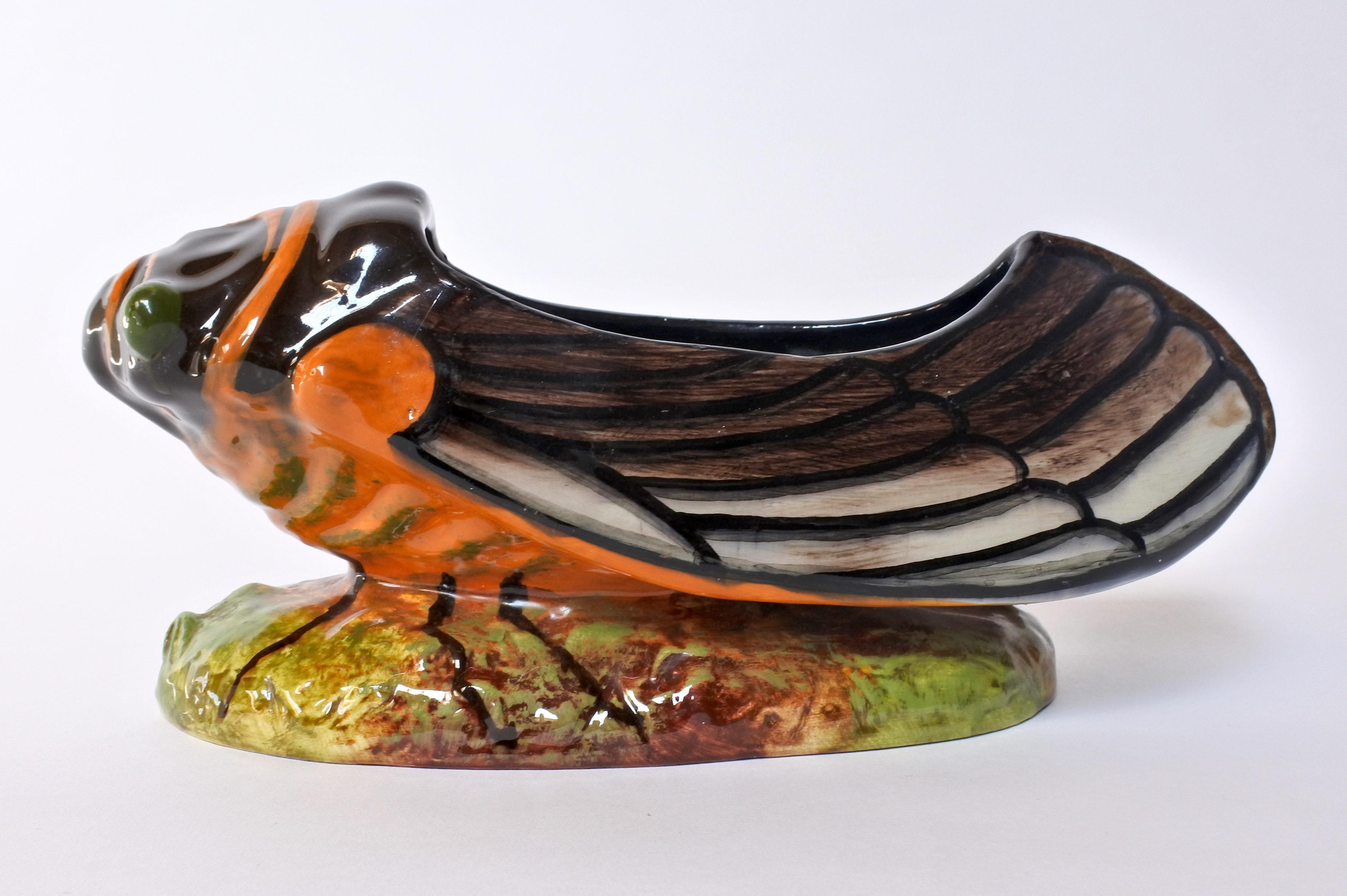 Jardinière Massier in ceramica barbotine a forma di cicala - 2