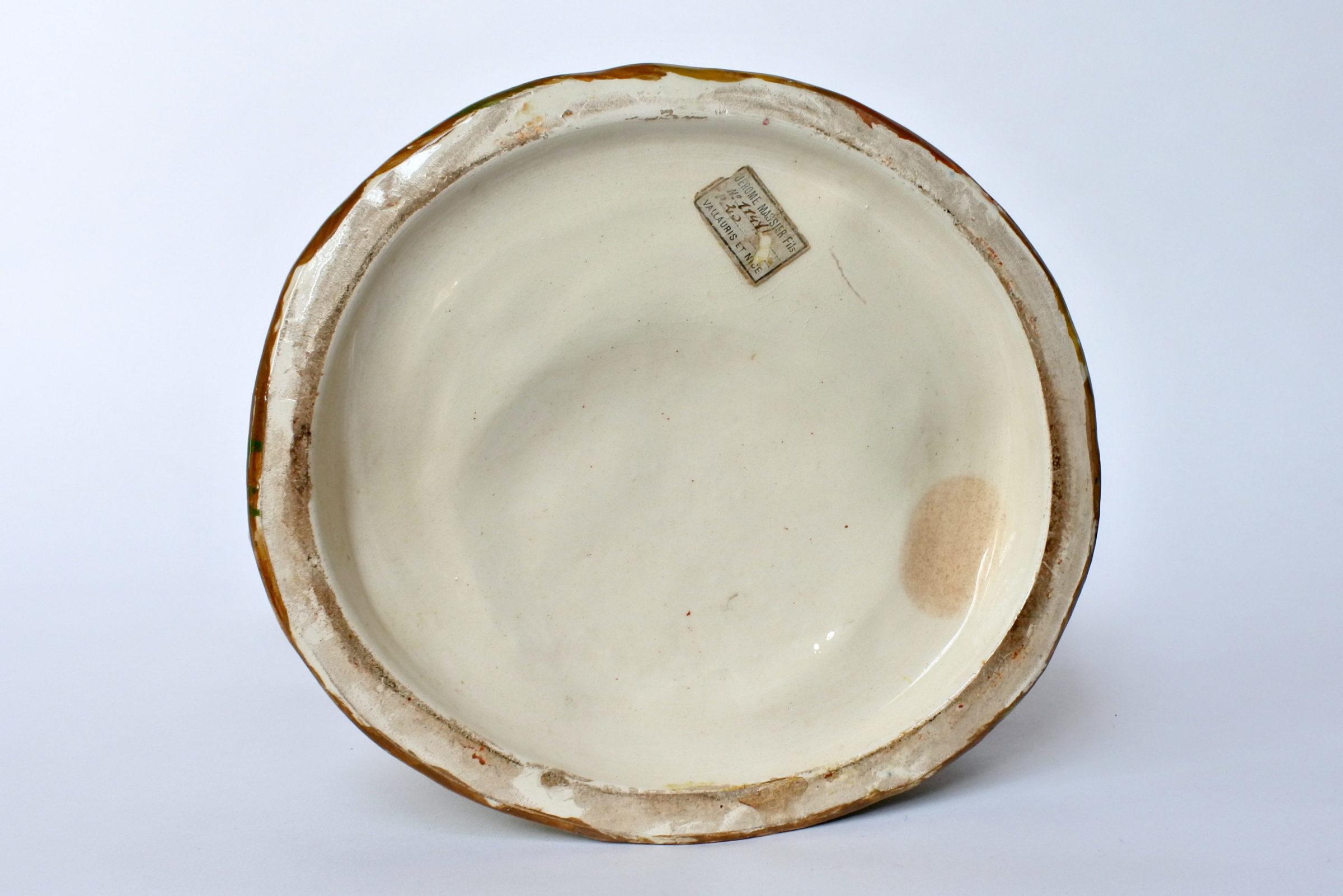 Jardinière Massier in ceramica barbotine a forma di pozzo con uccellini - 6