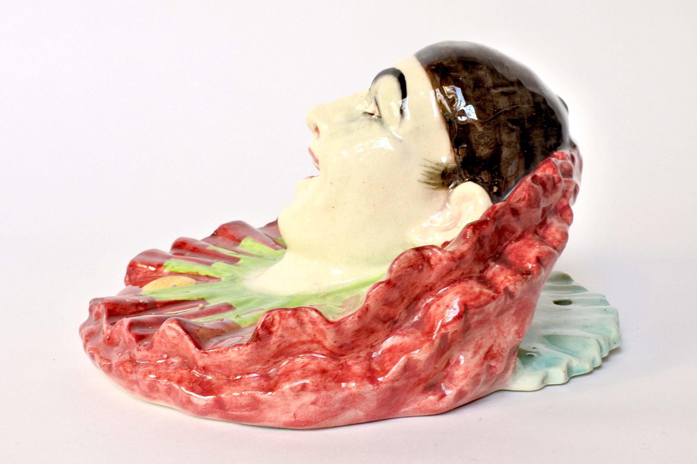 Portafiori in ceramica barbotine rappresentante testa di clown - 2