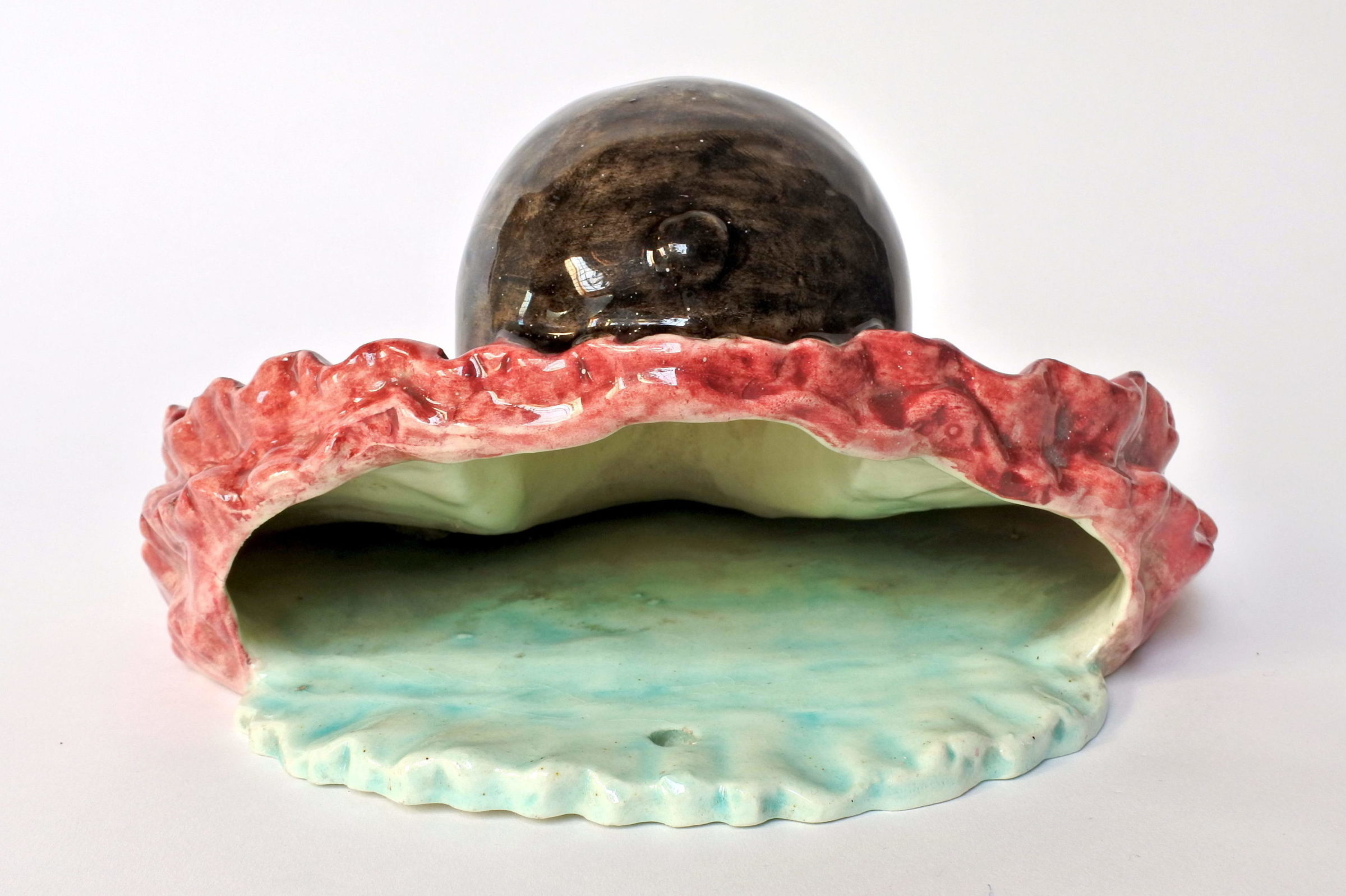 Portafiori in ceramica barbotine rappresentante testa di clown - 3