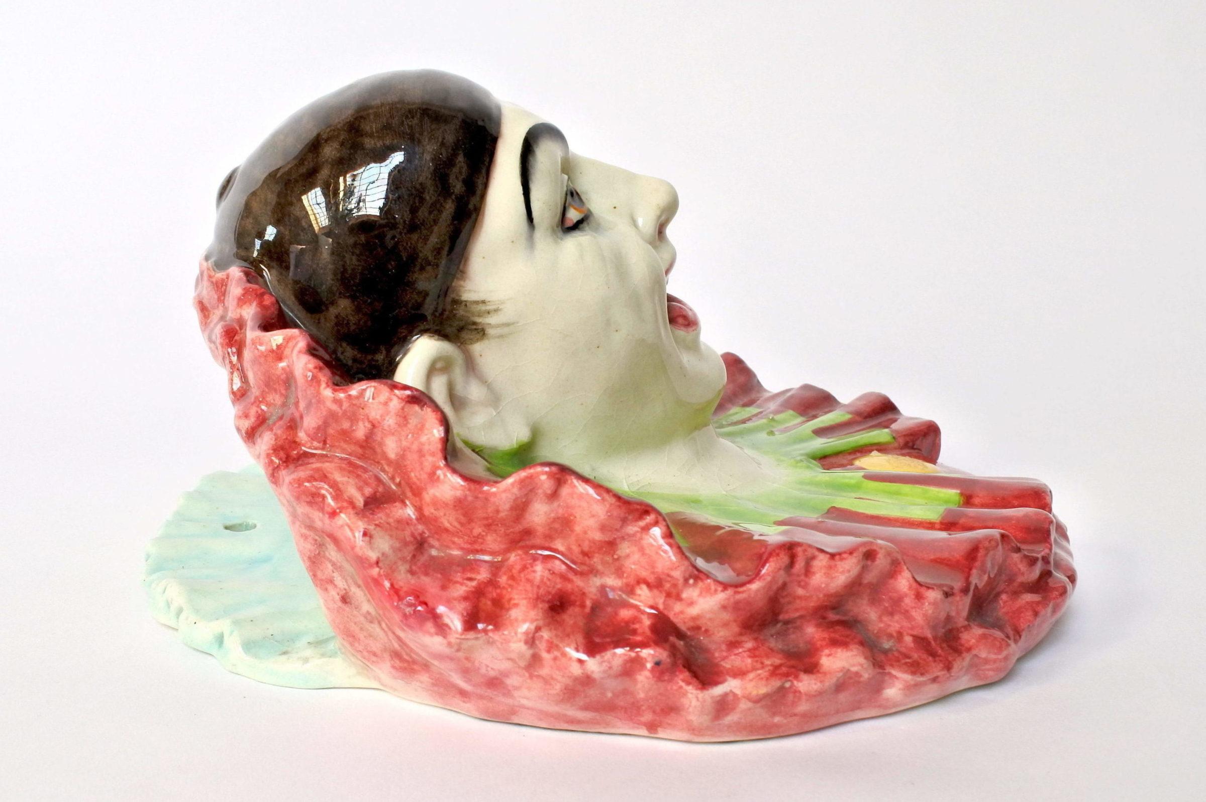 Portafiori in ceramica barbotine rappresentante testa di clown - 4