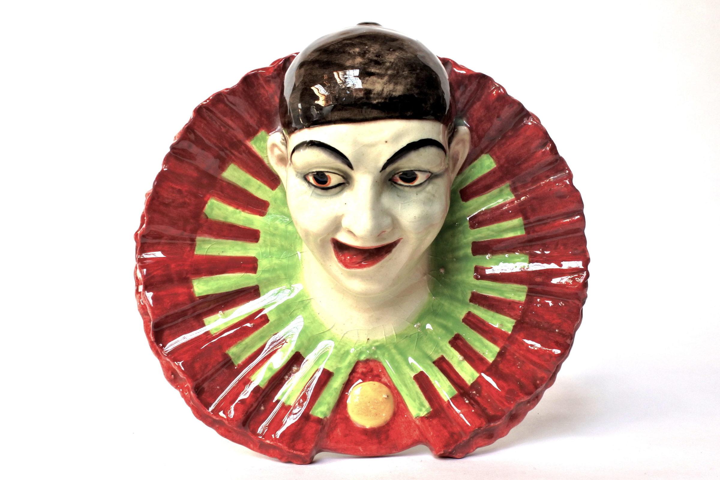 Portafiori in ceramica barbotine rappresentante testa di clown - 6