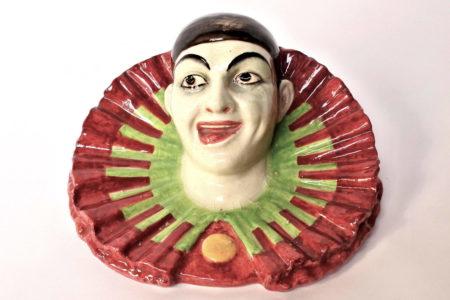 Portafiori in ceramica barbotine rappresentante testa di clown