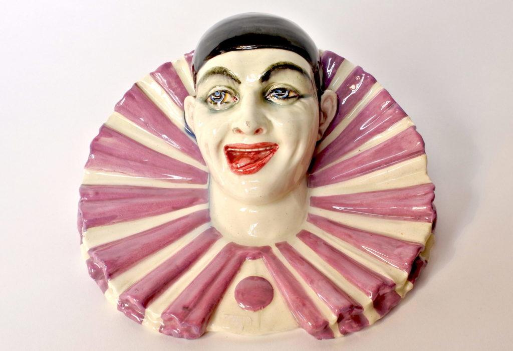 Portafiori Massier in ceramica barbotine rappresentante testa di clown