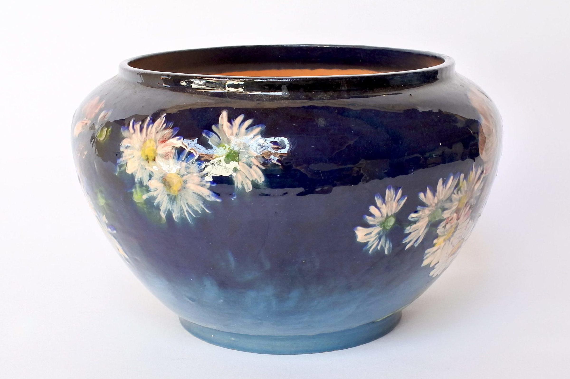 Cache pot in maiolica con decoro impressionista floreale smaltato - 2