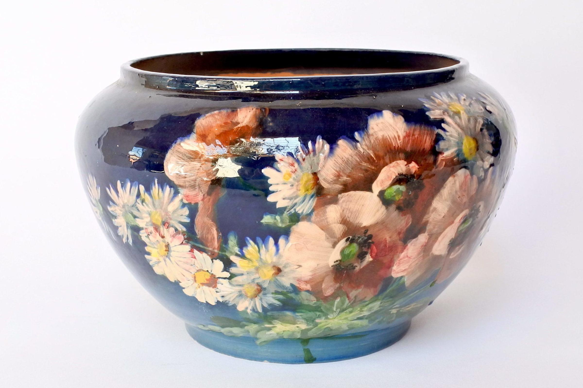 Cache pot in maiolica con decoro impressionista floreale smaltato - 3