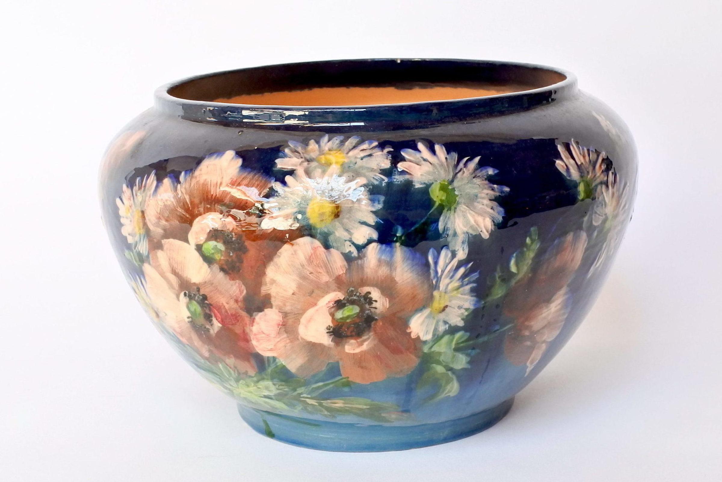 Cache pot in maiolica con decoro impressionista floreale smaltato - 4