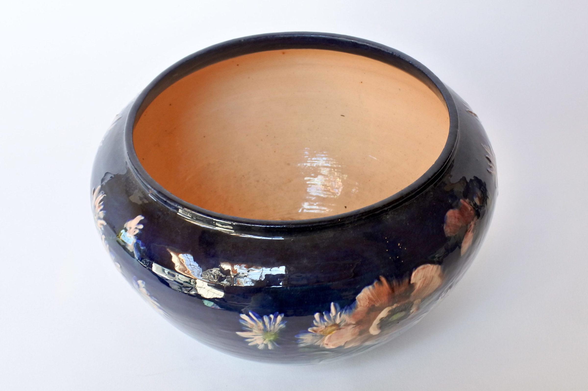 Cache pot in maiolica con decoro impressionista floreale smaltato - 5