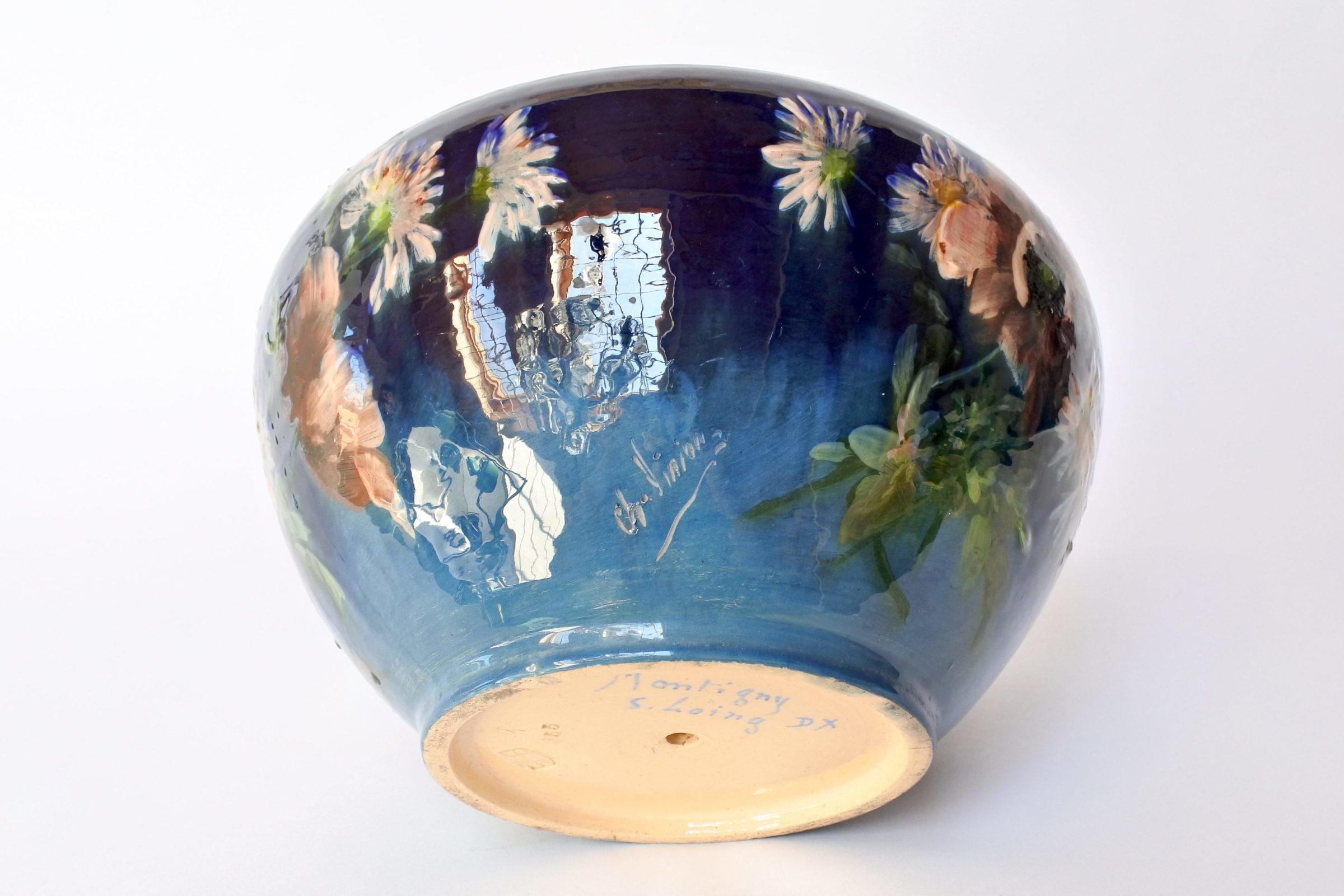 Cache pot in maiolica con decoro impressionista floreale smaltato - 6