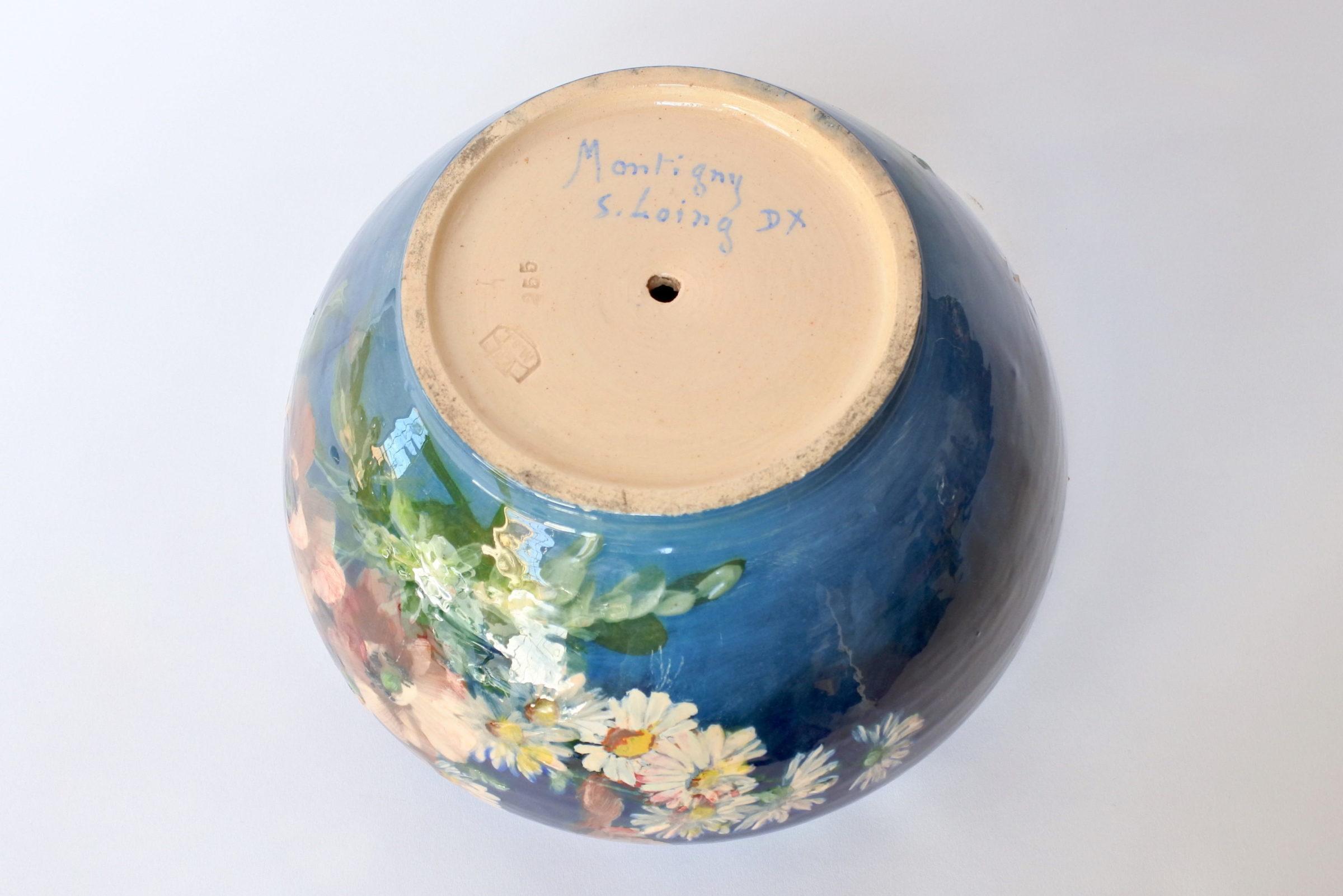 Cache pot in maiolica con decoro impressionista floreale smaltato - 7