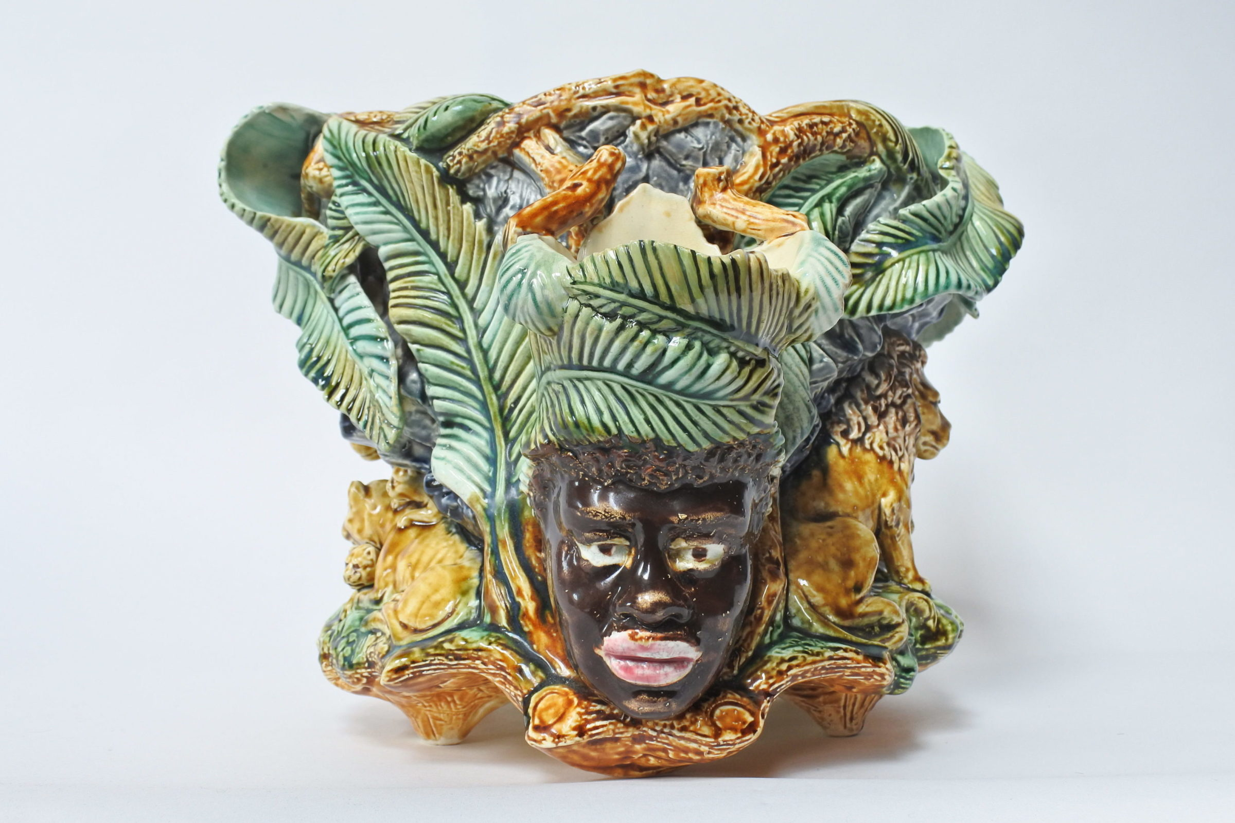 Centrotavola in ceramica barbotine con funzione di jardinière - Onnaing - 3