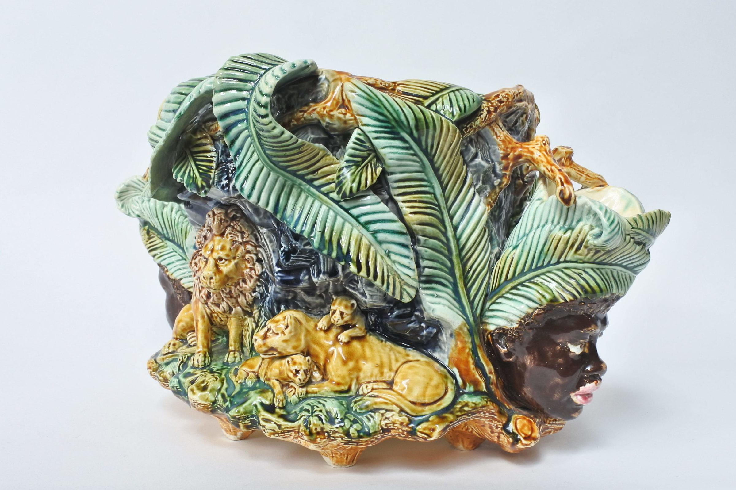 Centrotavola in ceramica barbotine con funzione di jardinière - Onnaing - 4