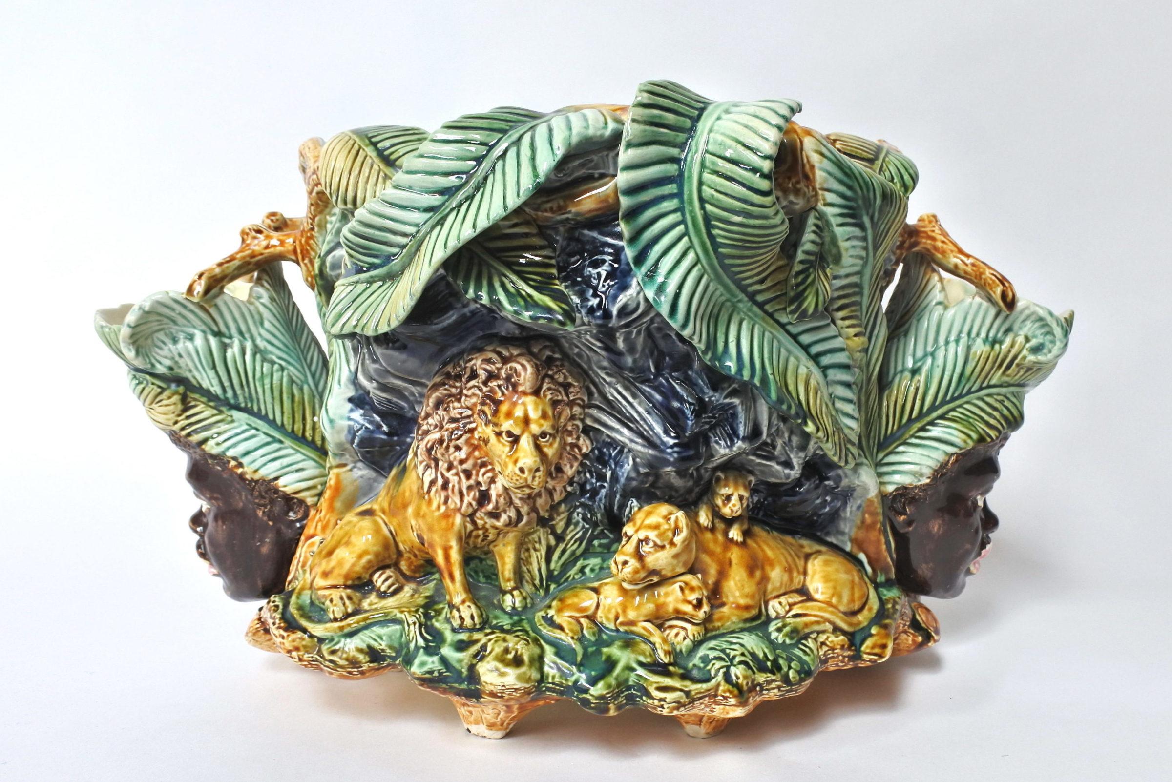 Centrotavola in ceramica barbotine con funzione di jardinière - Onnaing - 5