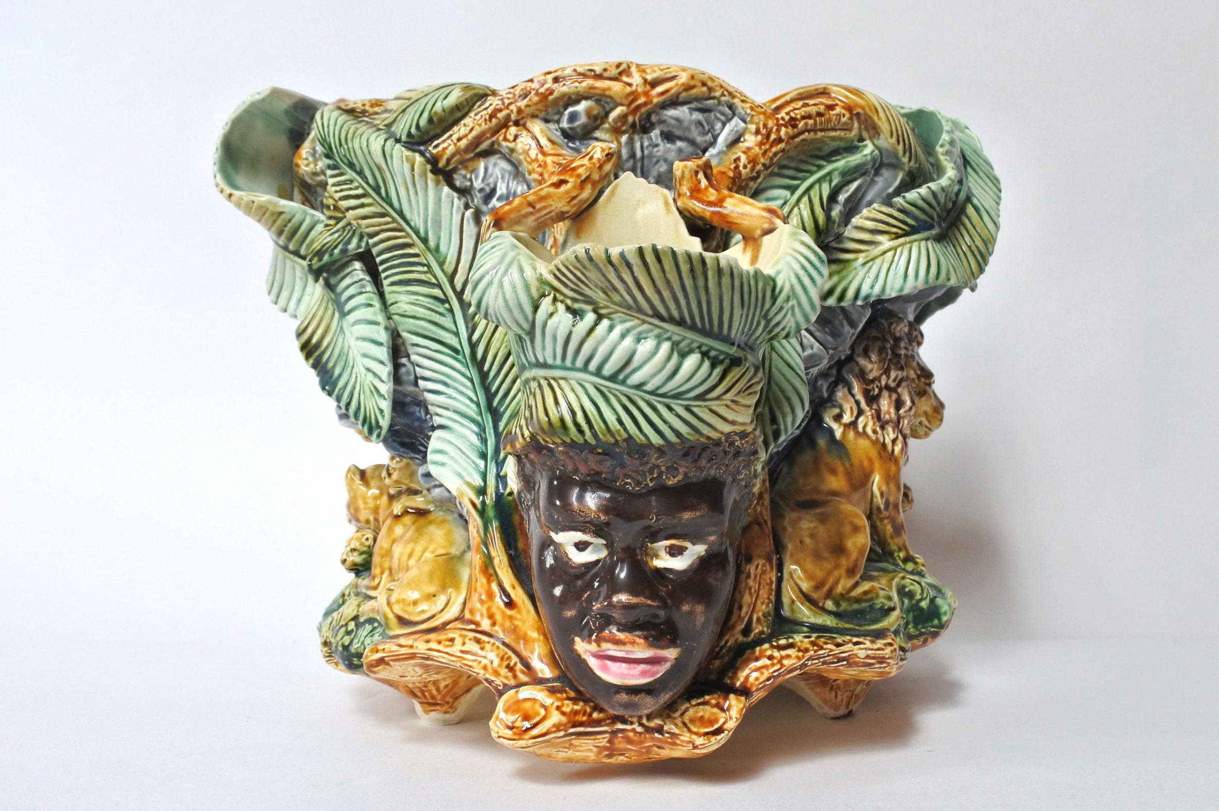 Centrotavola in ceramica barbotine con funzione di jardinière - Onnaing - 7
