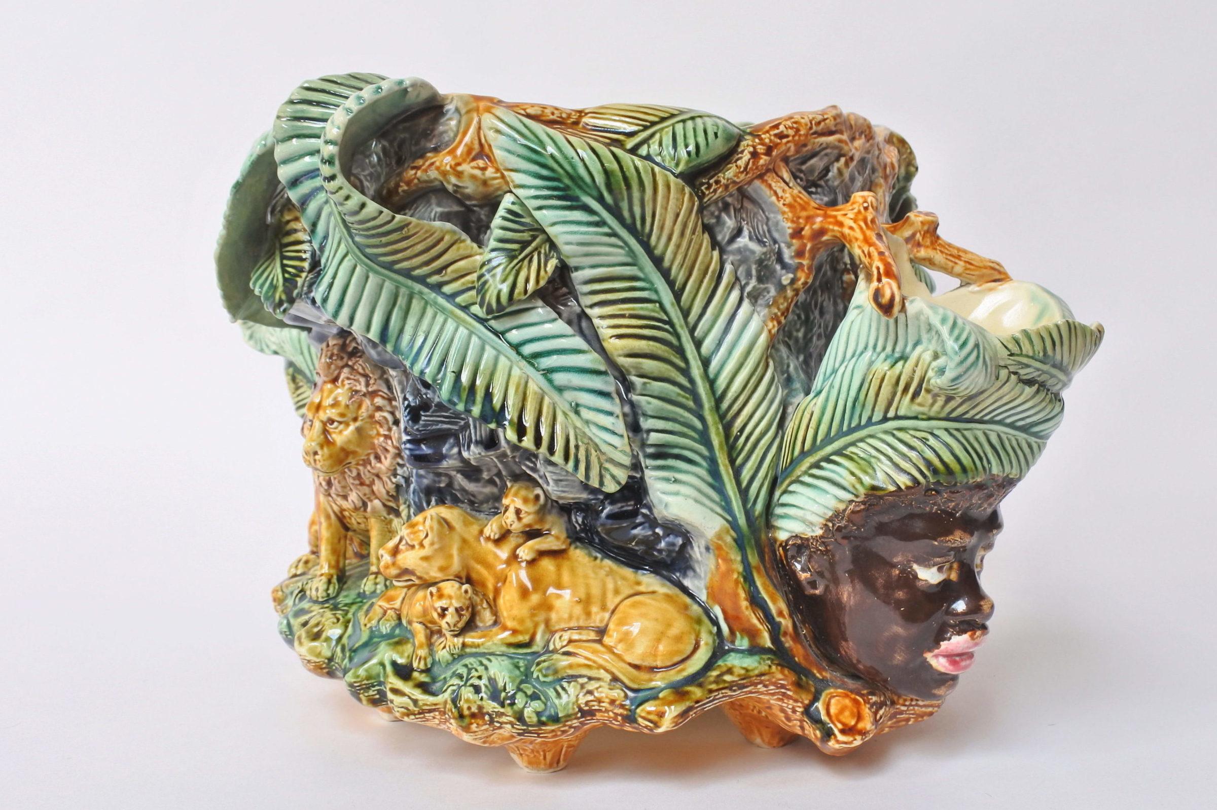 Centrotavola in ceramica barbotine con funzione di jardinière - Onnaing - 8