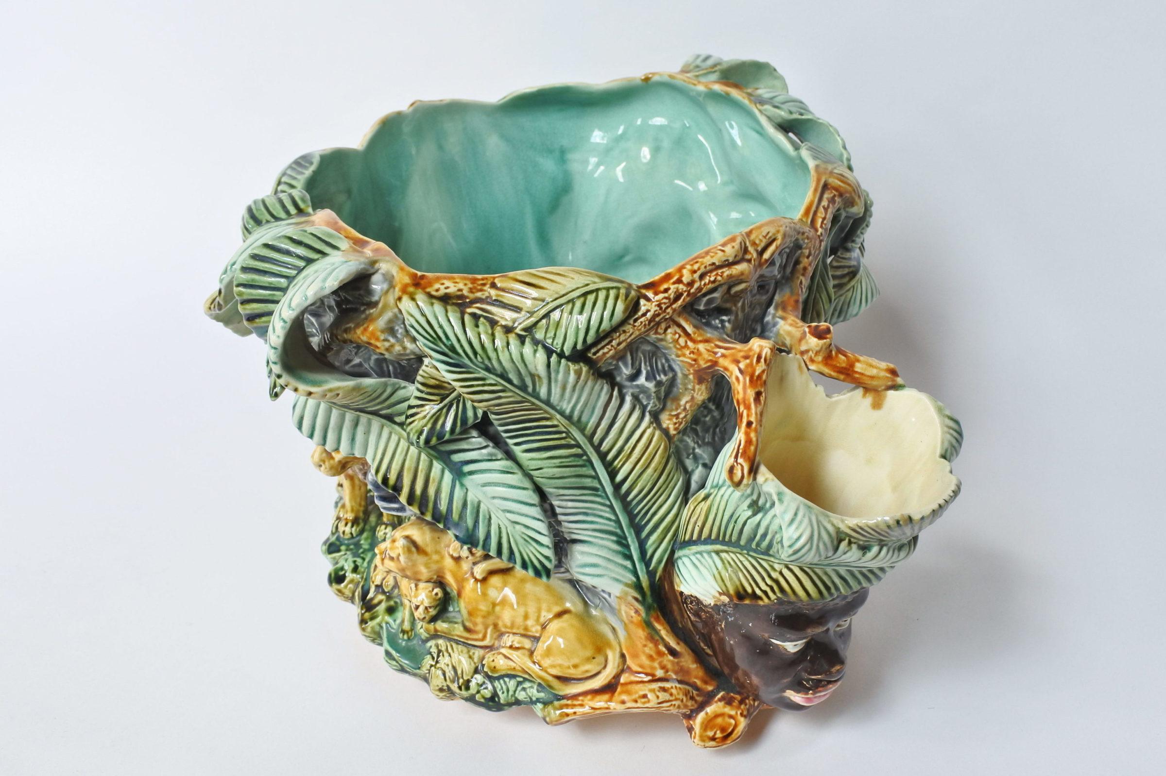 Centrotavola in ceramica barbotine con funzione di jardinière - Onnaing - 9