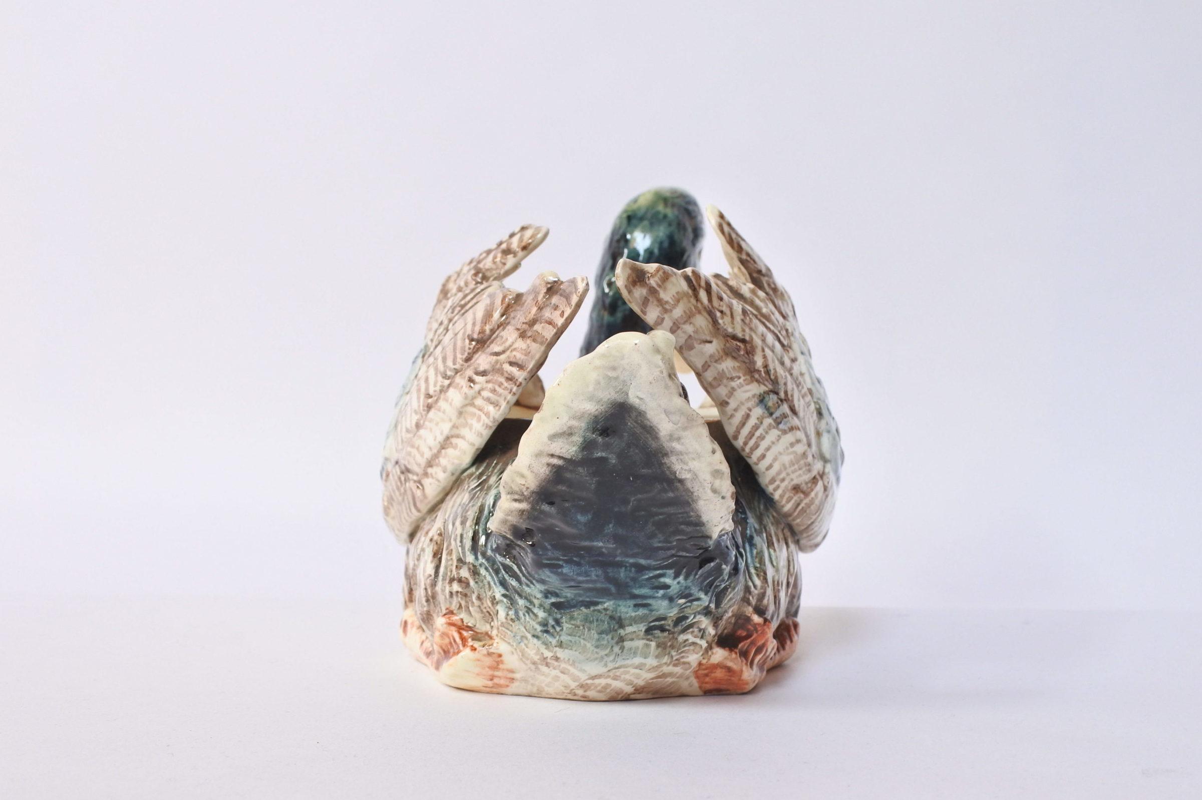 Jardinière Massier in ceramica barbotine con forma di anatra - 6