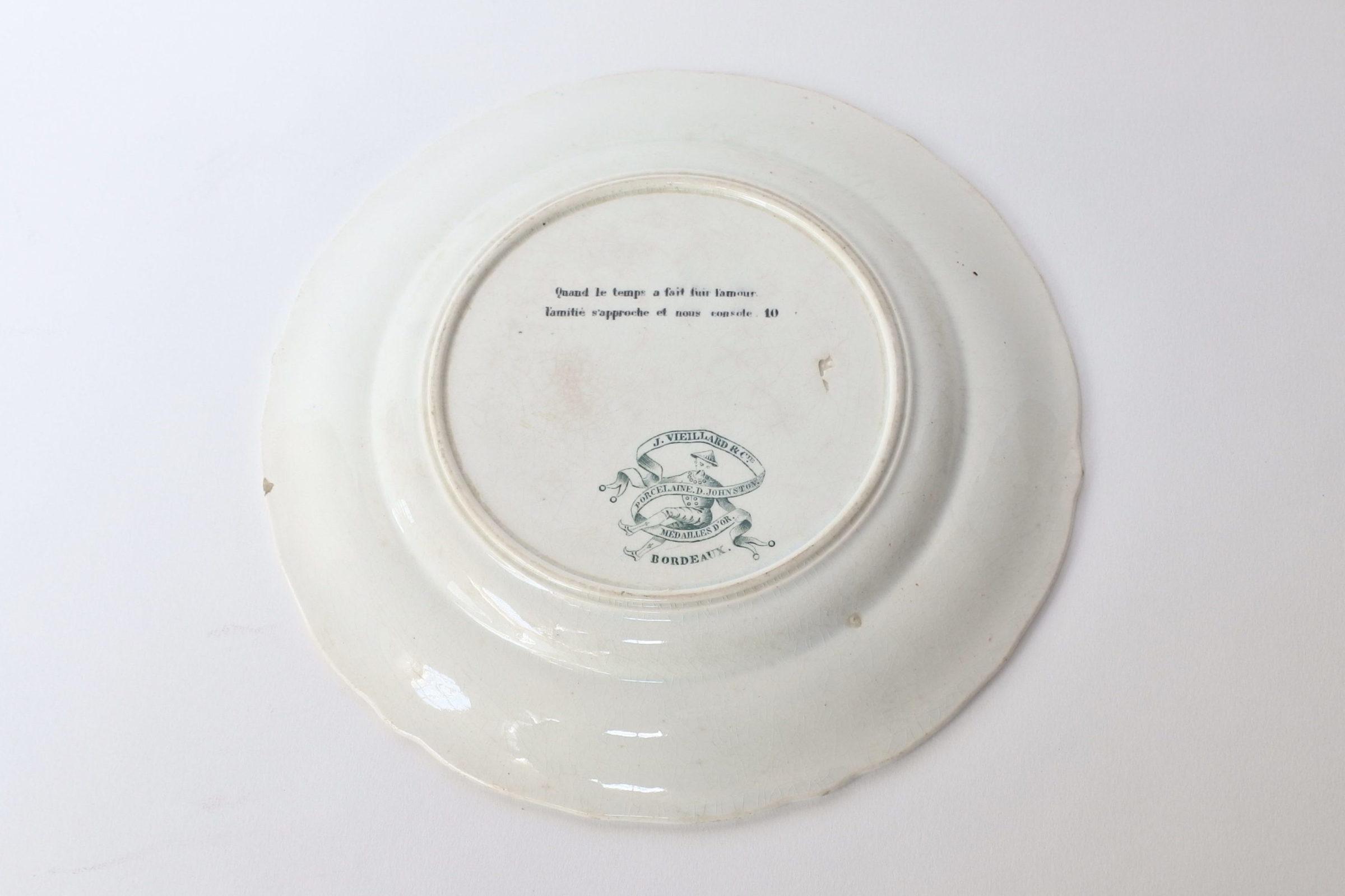 Piatto in ceramica con cornice verde decorato con rebus - decoro n° 10 - 2