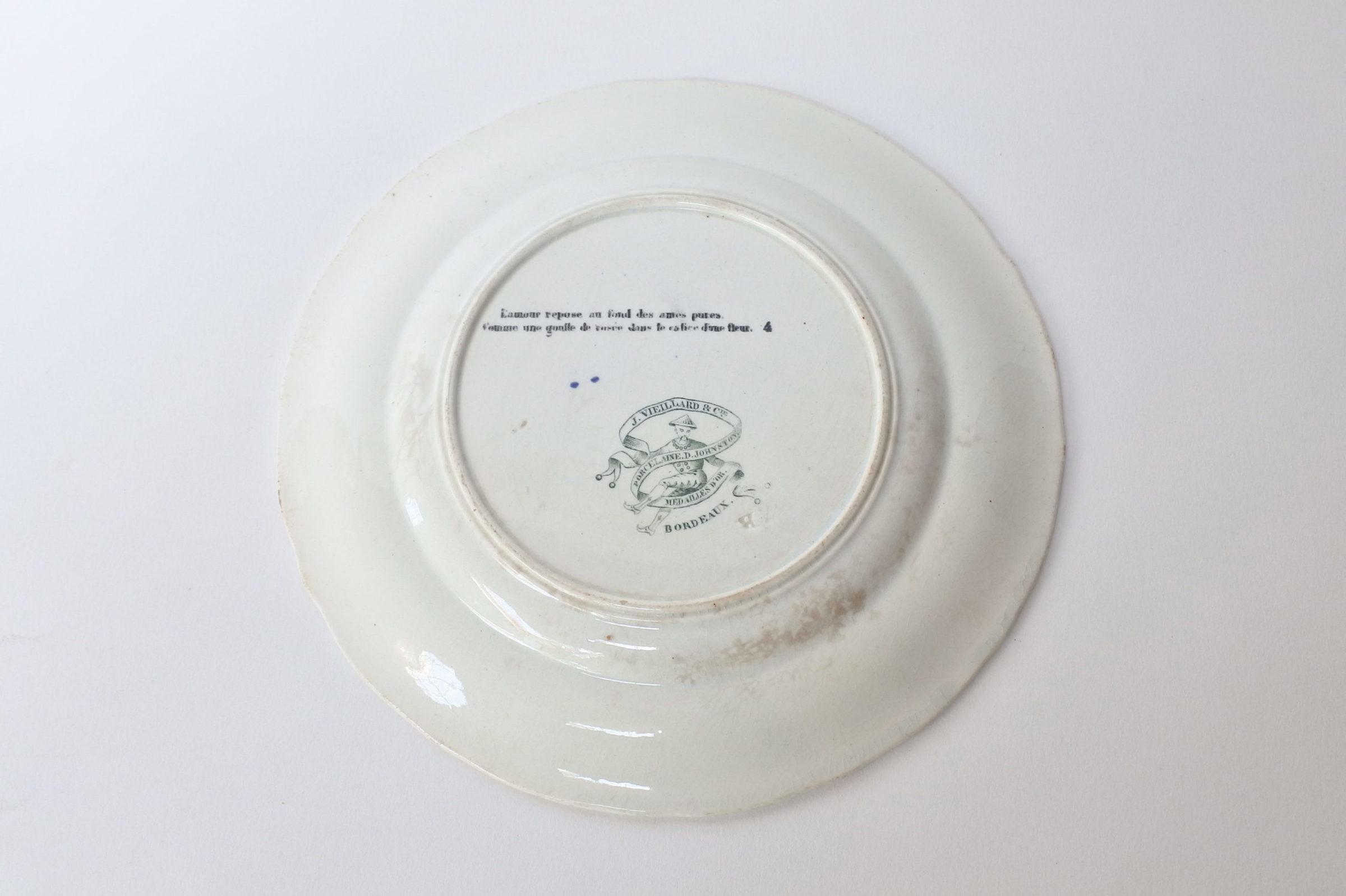 Piatto in ceramica con cornice verde decorato con rebus - decoro n° 4 - 2