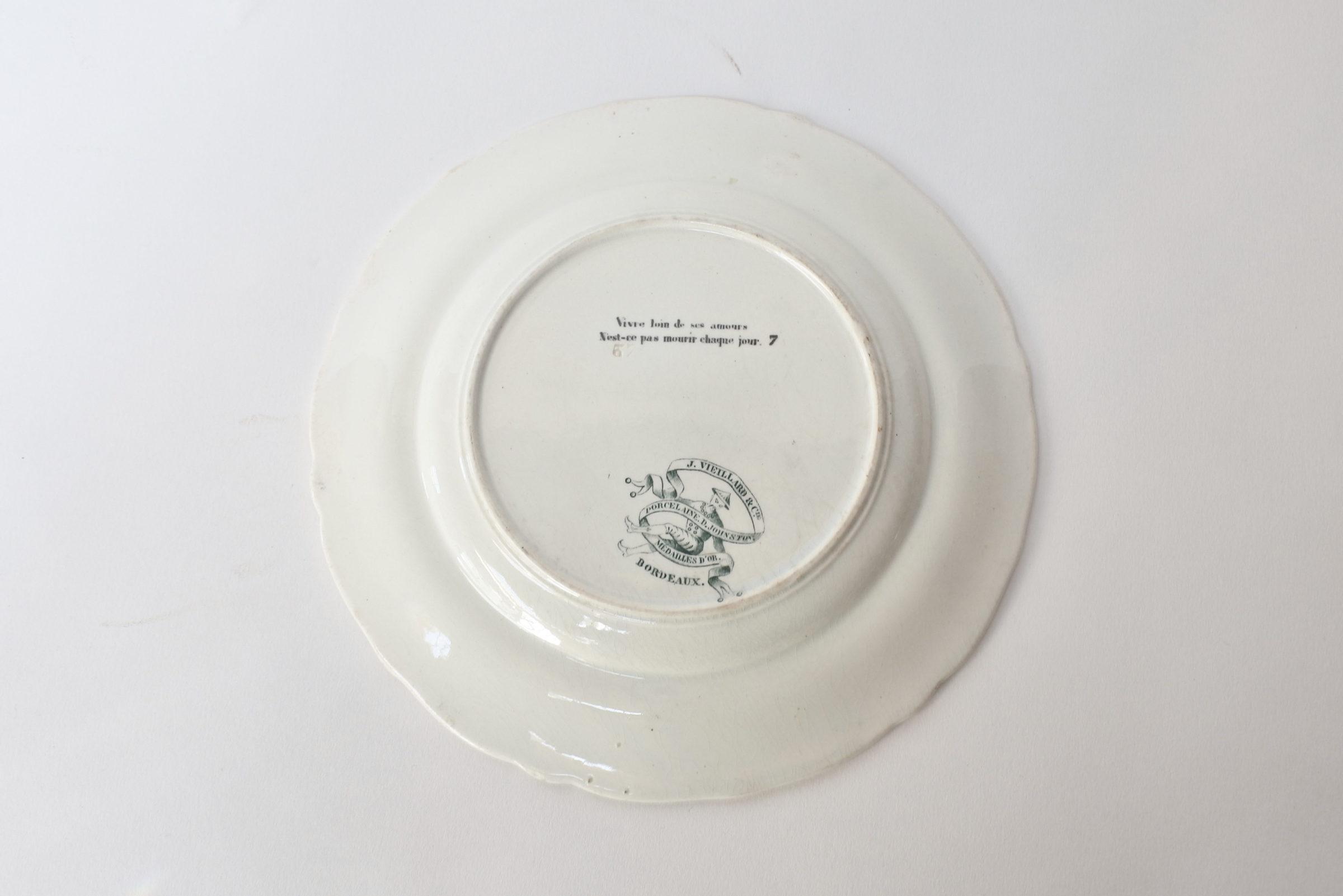 Piatto in ceramica con cornice verde decorato con rebus - decoro n° 7 - 2