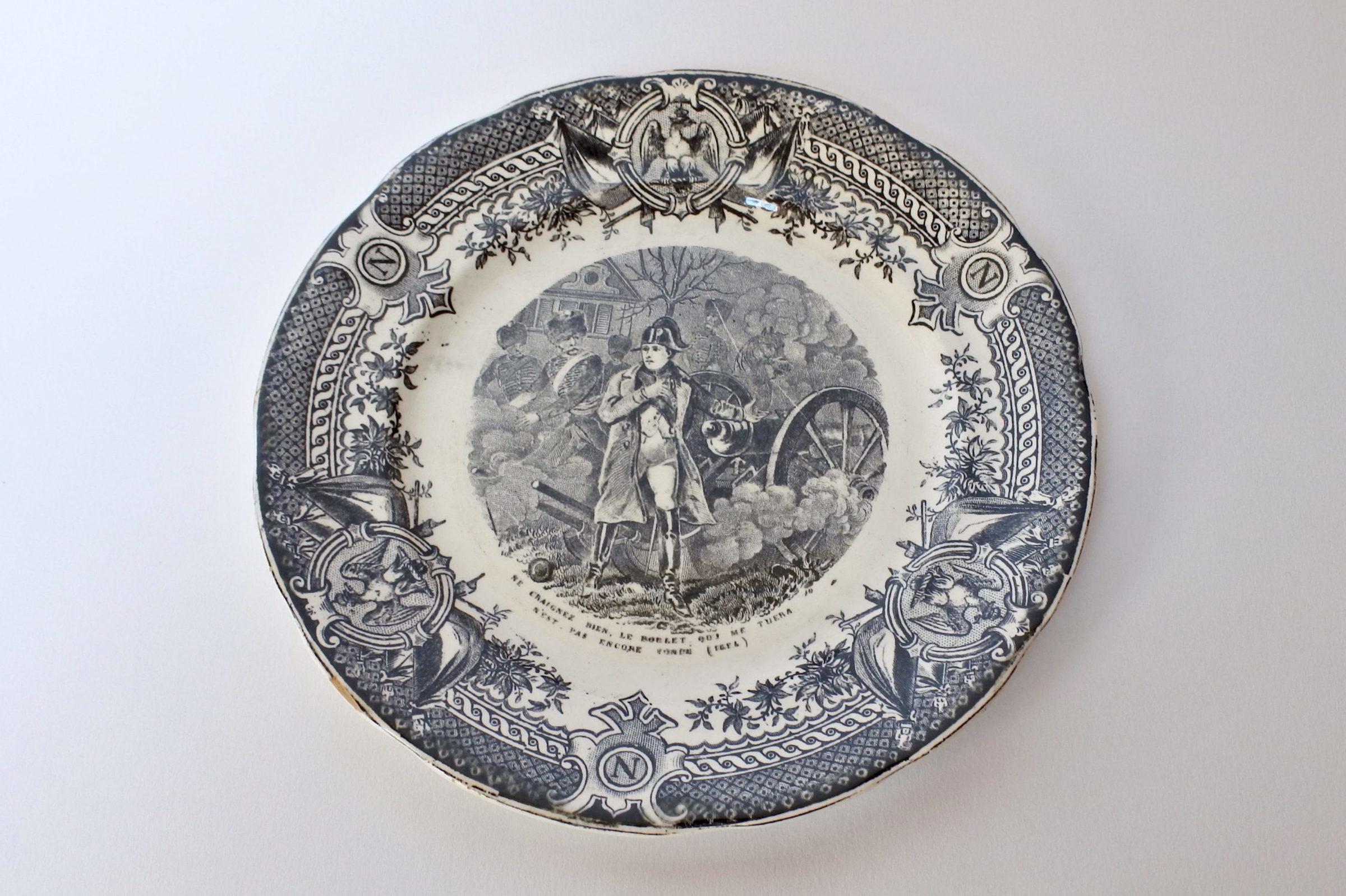 Piatto in ceramica con decoro Napoleone Bonaparte - Sarreguemines